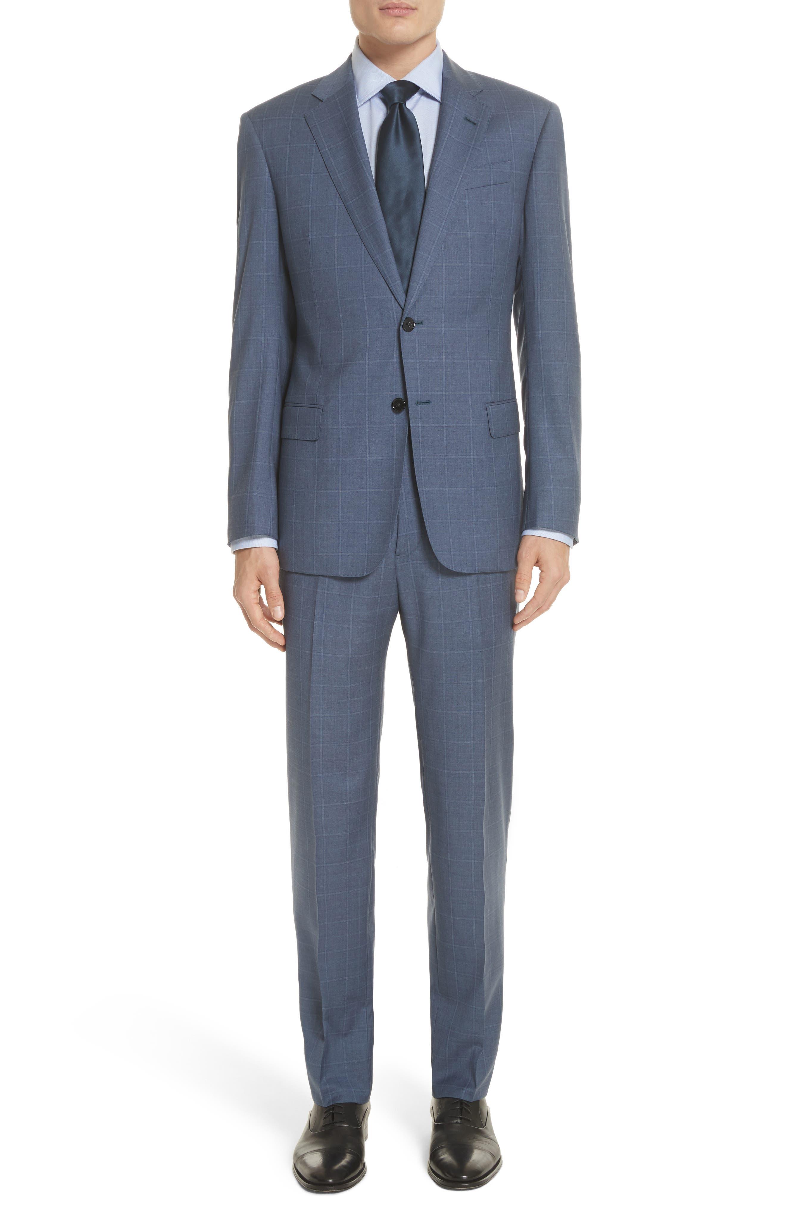 G Line Trim Fit Windowpane Wool Suit,                             Main thumbnail 1, color,                             Blue