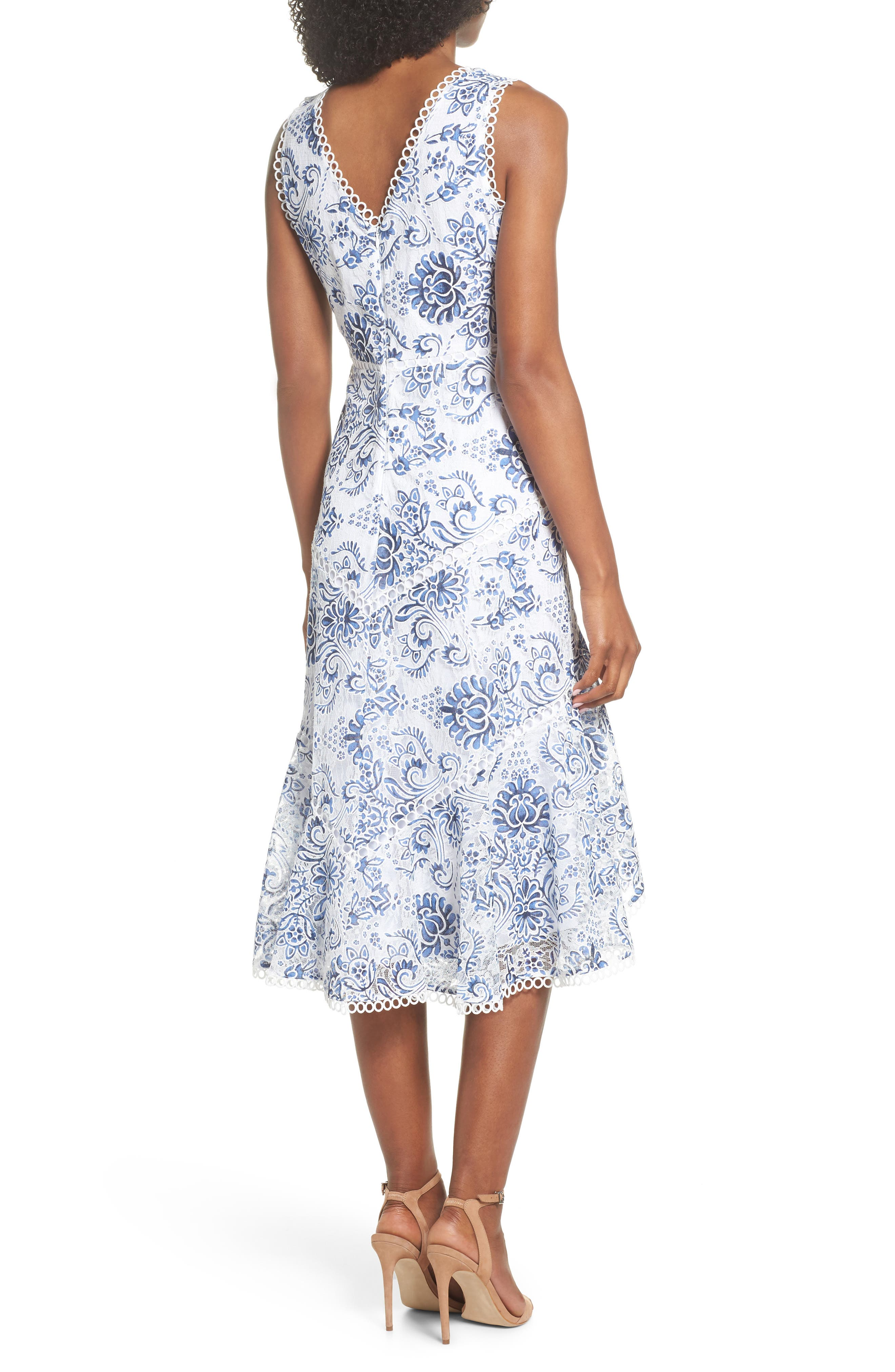 Alternate Image 2  - Taylor Dresses Burnout Lace Midi Dress