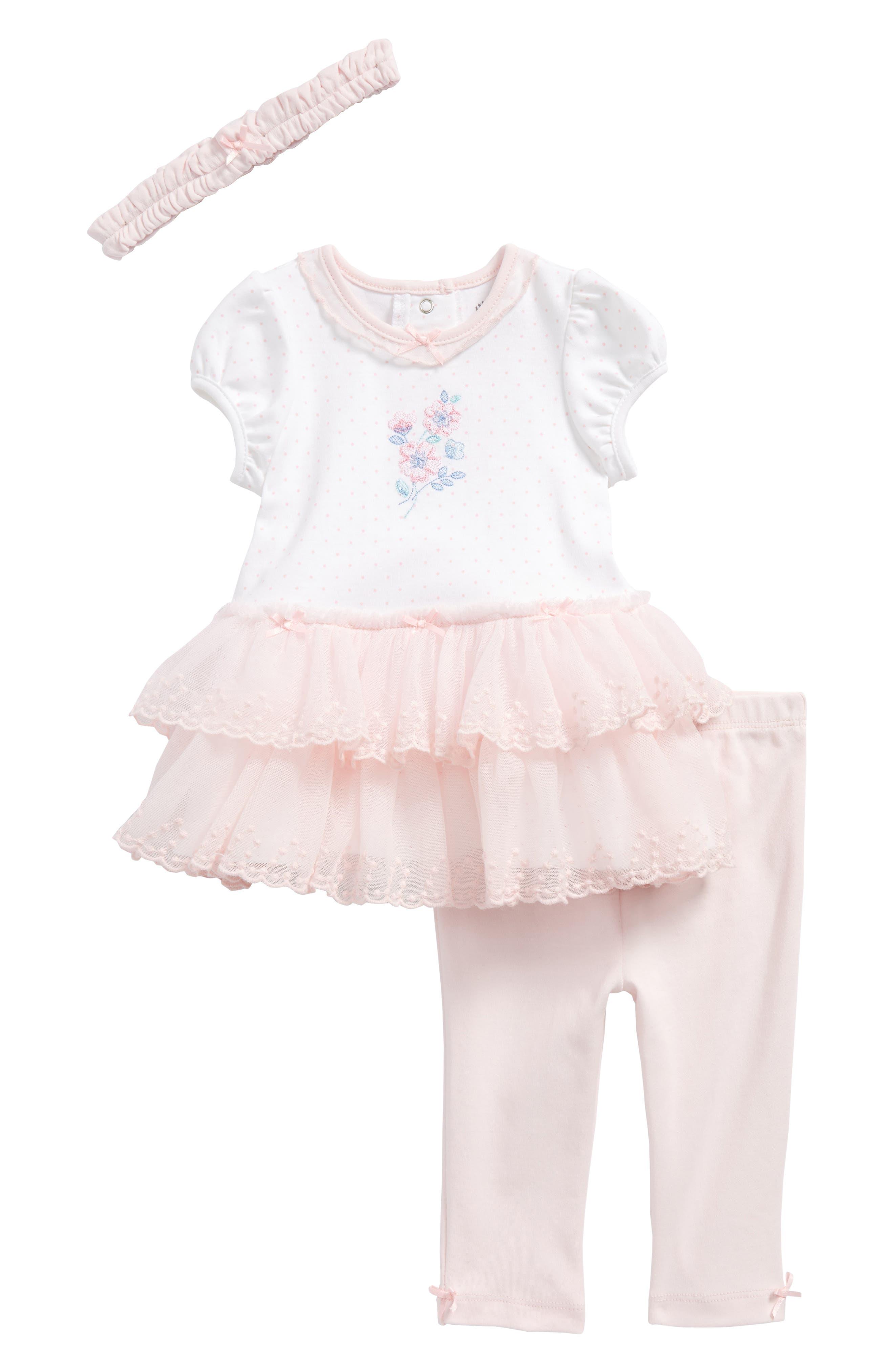 Alternate Image 1 Selected - Little Me Garden Dress, Leggings & Headband Set (Baby Girls)