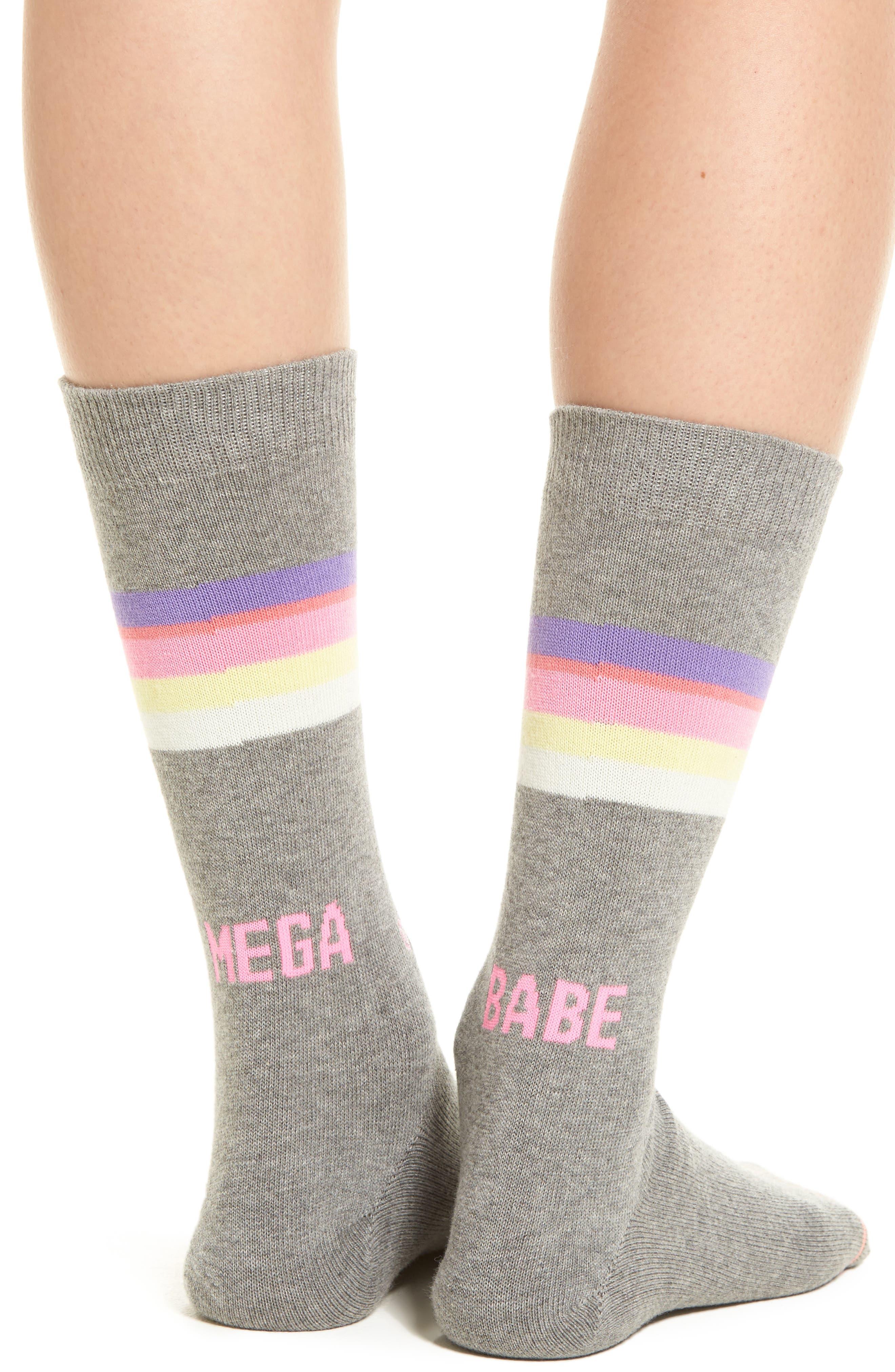 Mega Babe Tomboy Crew Socks,                             Alternate thumbnail 3, color,                             Grey
