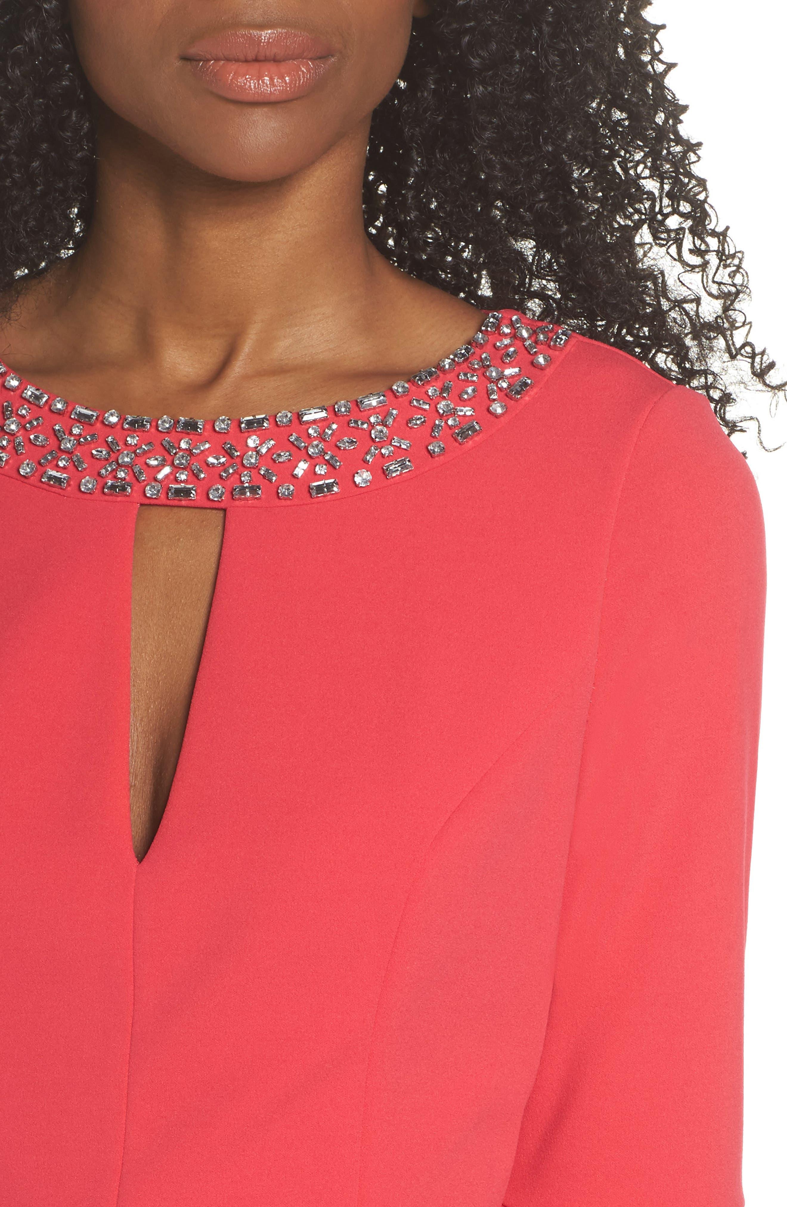 Embellished Bell Sleeve Sheath Dress,                             Alternate thumbnail 4, color,                             Berry