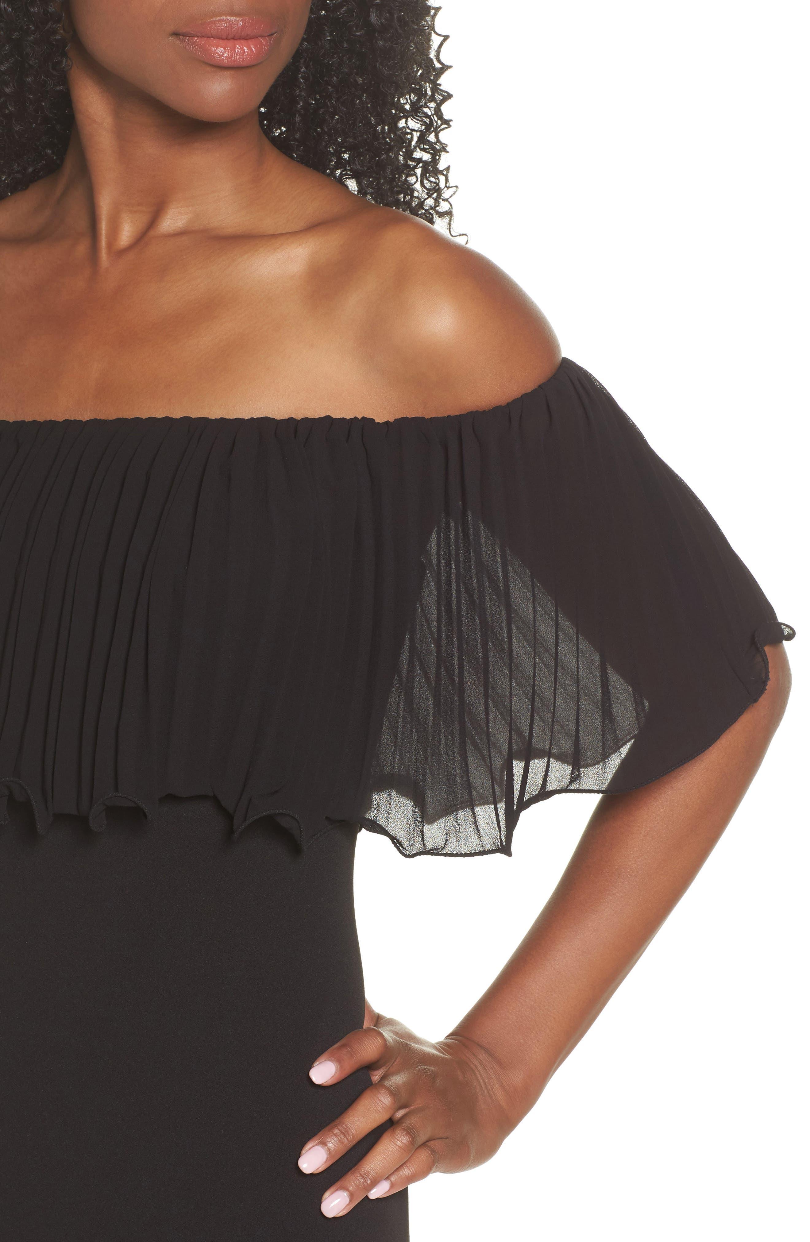 Pleat Ruffle Off the Shoulder Dress,                             Alternate thumbnail 4, color,                             Black