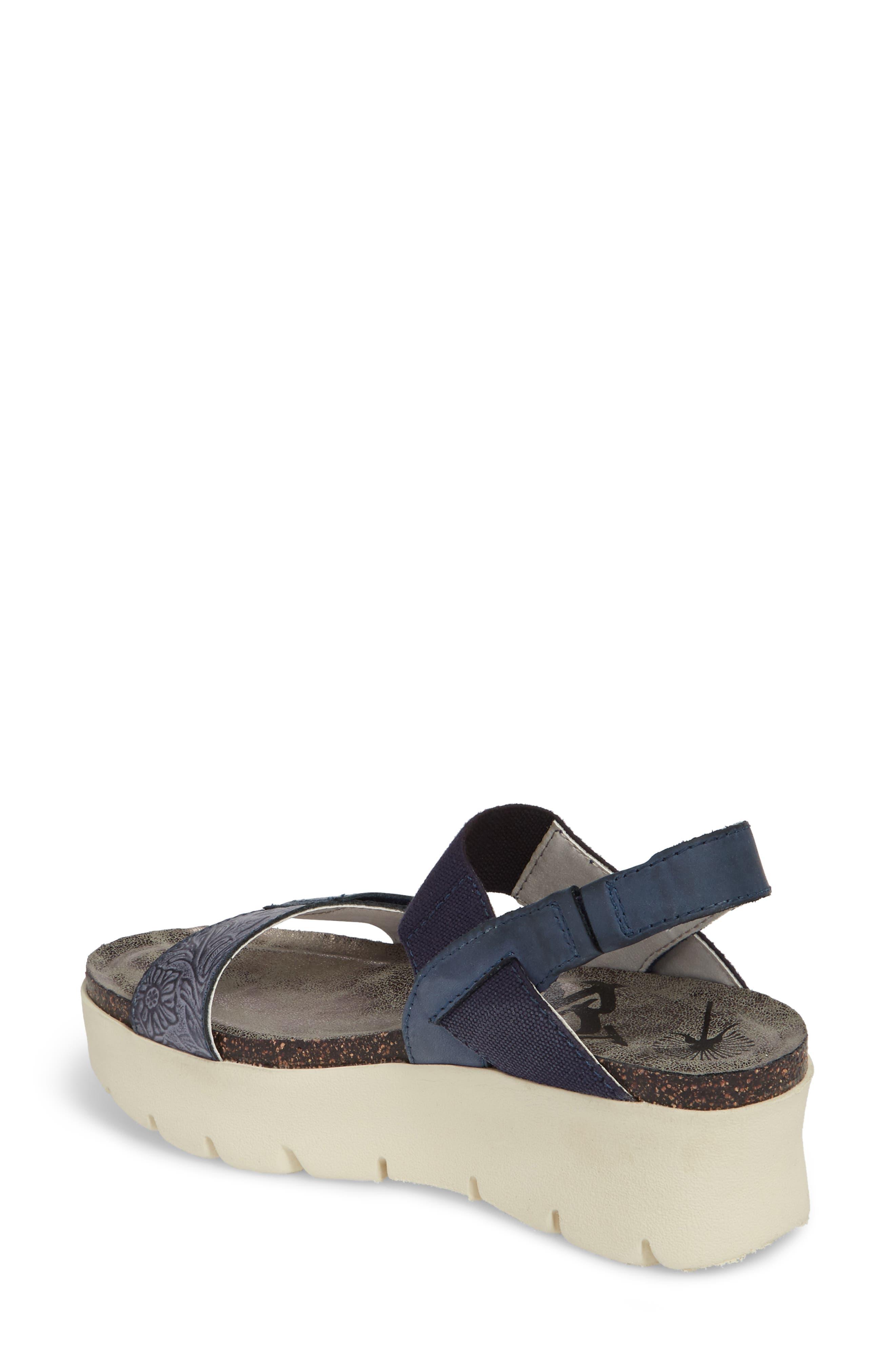 Nova Platform Sandal,                             Alternate thumbnail 2, color,                             Navy Leather