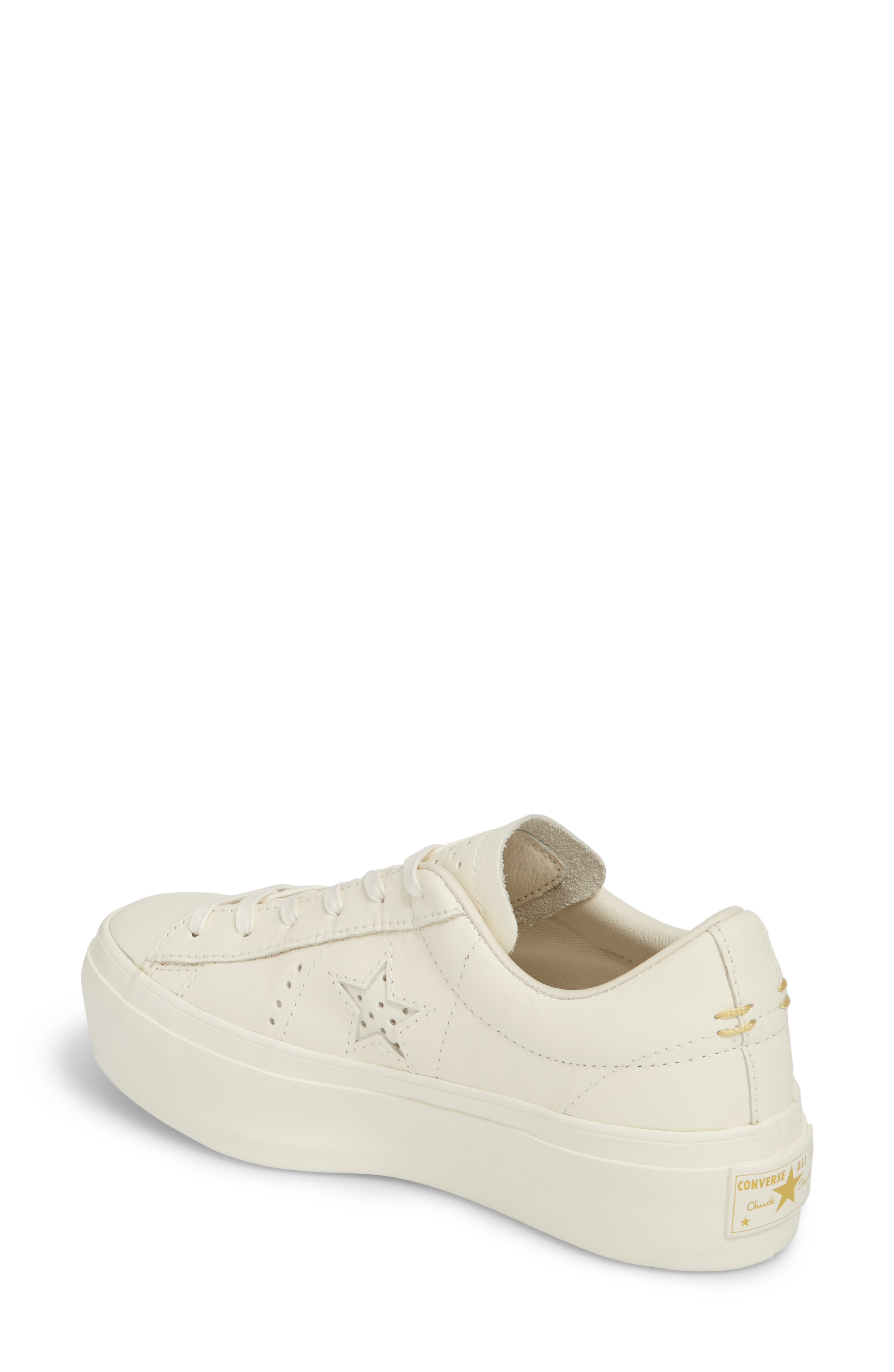 Chuck Taylor<sup>®</sup> All Star<sup>®</sup> One Star Platform Sneaker,                             Alternate thumbnail 2, color,                             Egret/ Egret