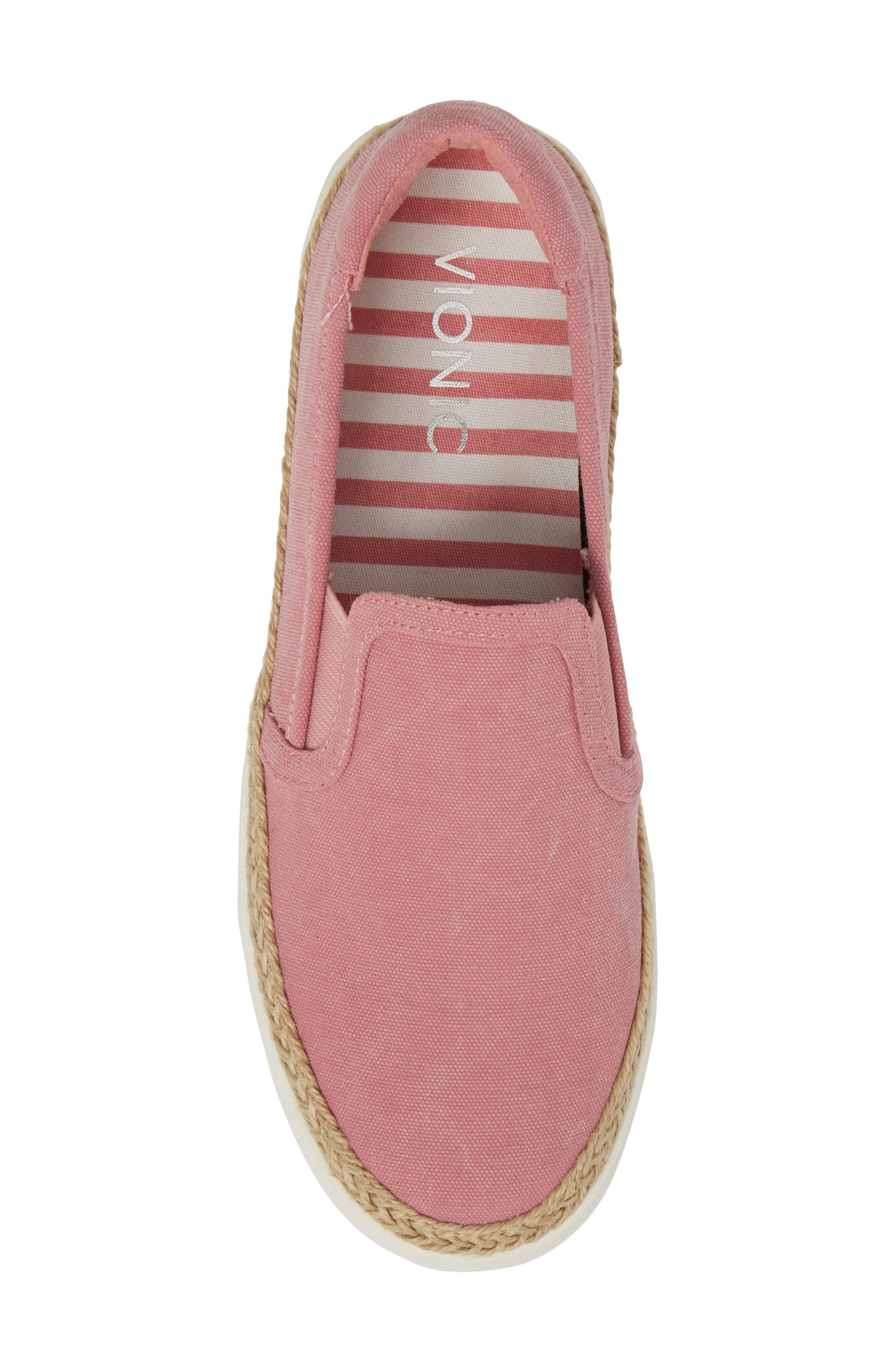 Rae Slip-On Sneaker,                             Alternate thumbnail 5, color,                             Light Pink Canvas