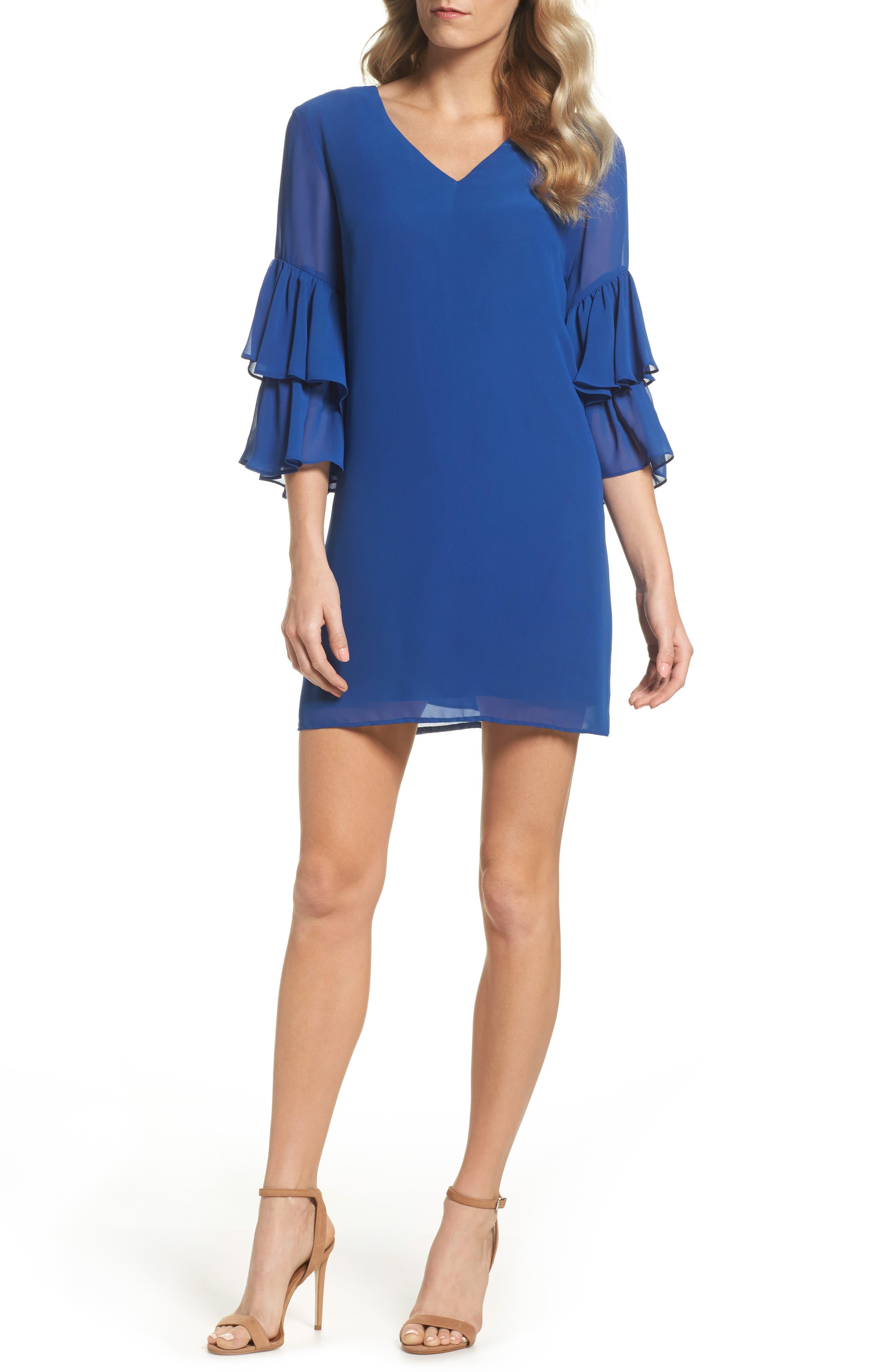Carmen Tiered Ruffle Sleeve Shift Dress,                         Main,                         color, Deep Sapphire