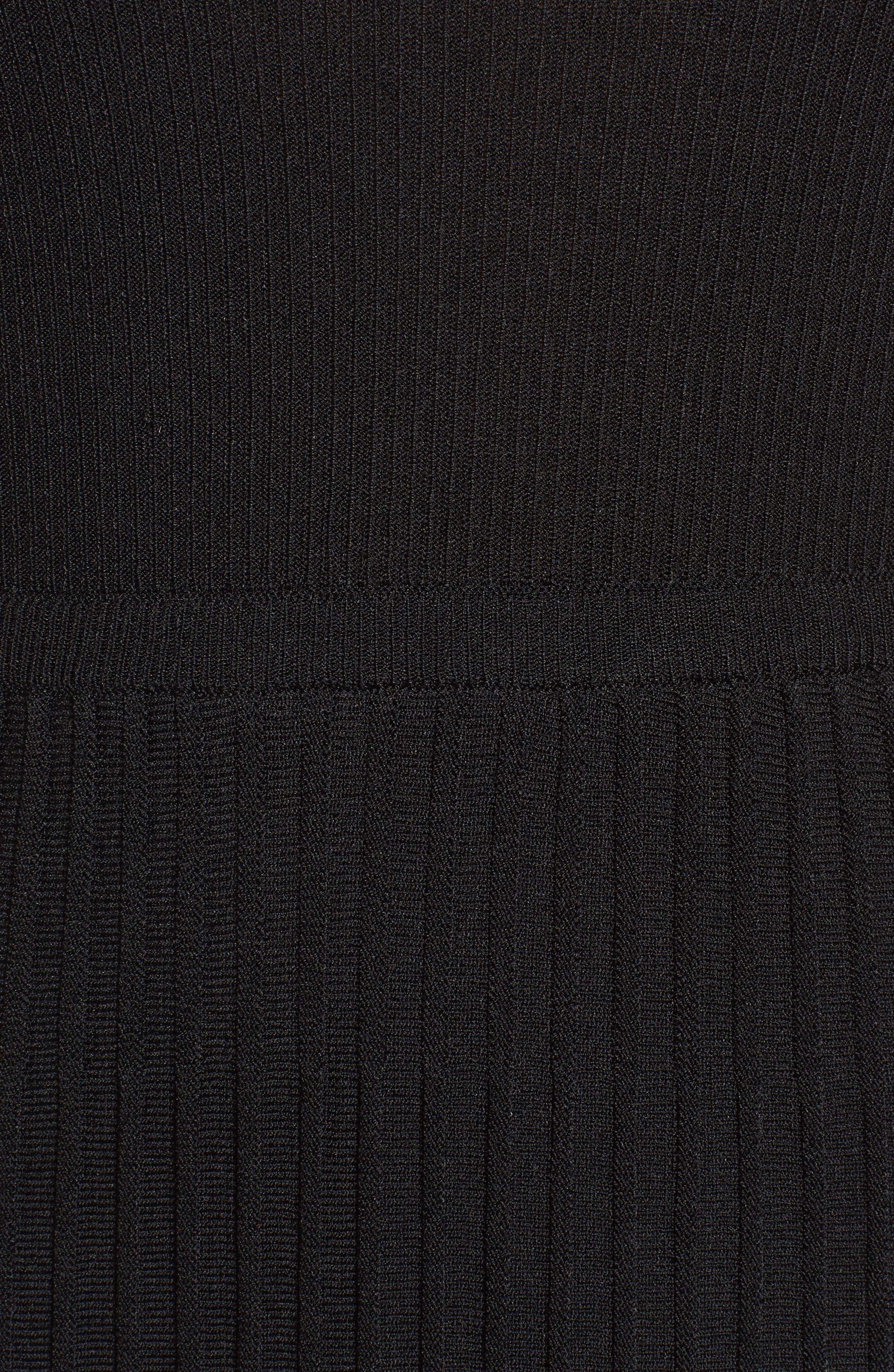 New York Pleated Sweater Midi Dress,                             Alternate thumbnail 5, color,                             Black