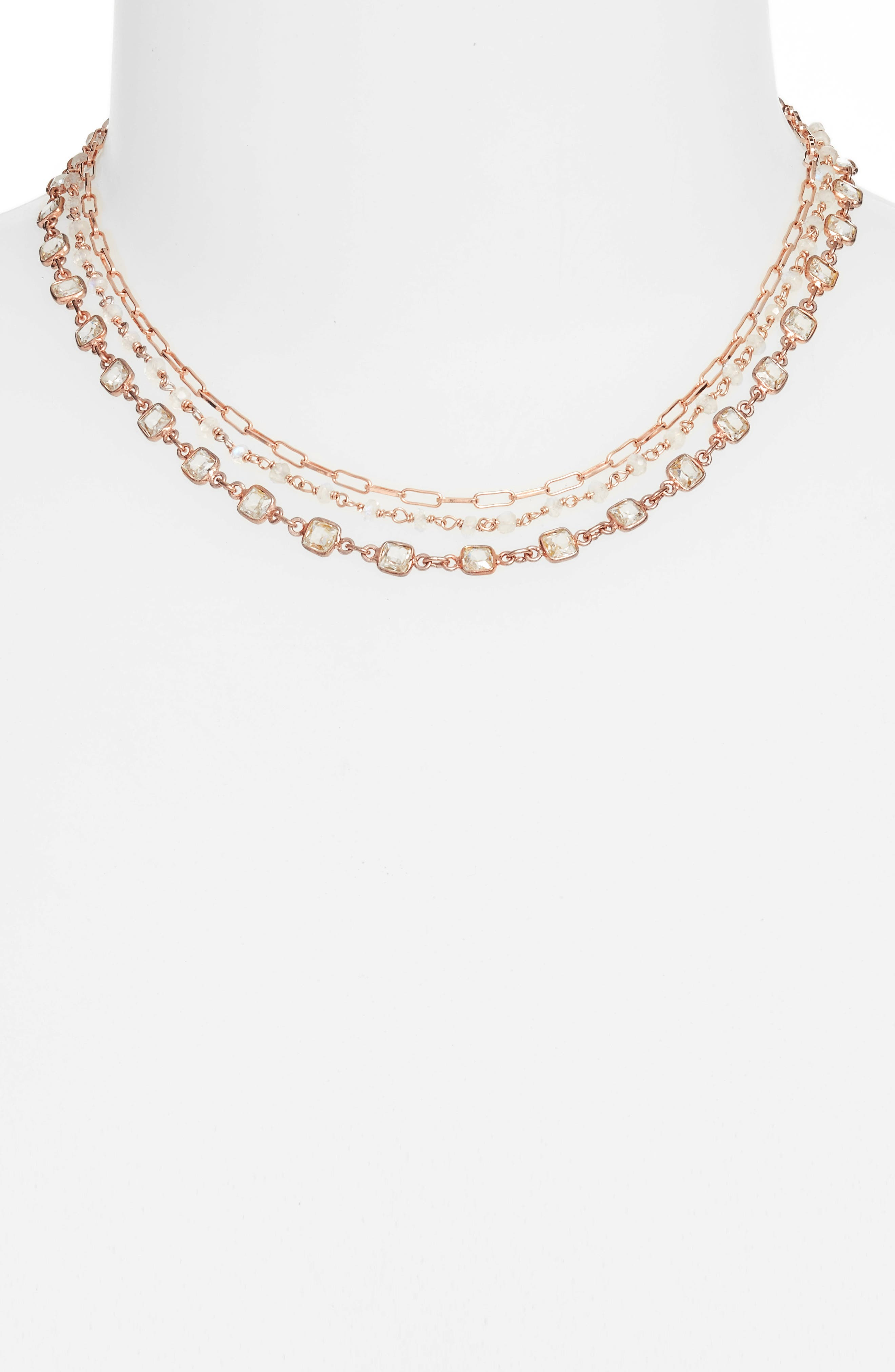 Multistrand Collar Necklace,                         Main,                         color, Moonstone