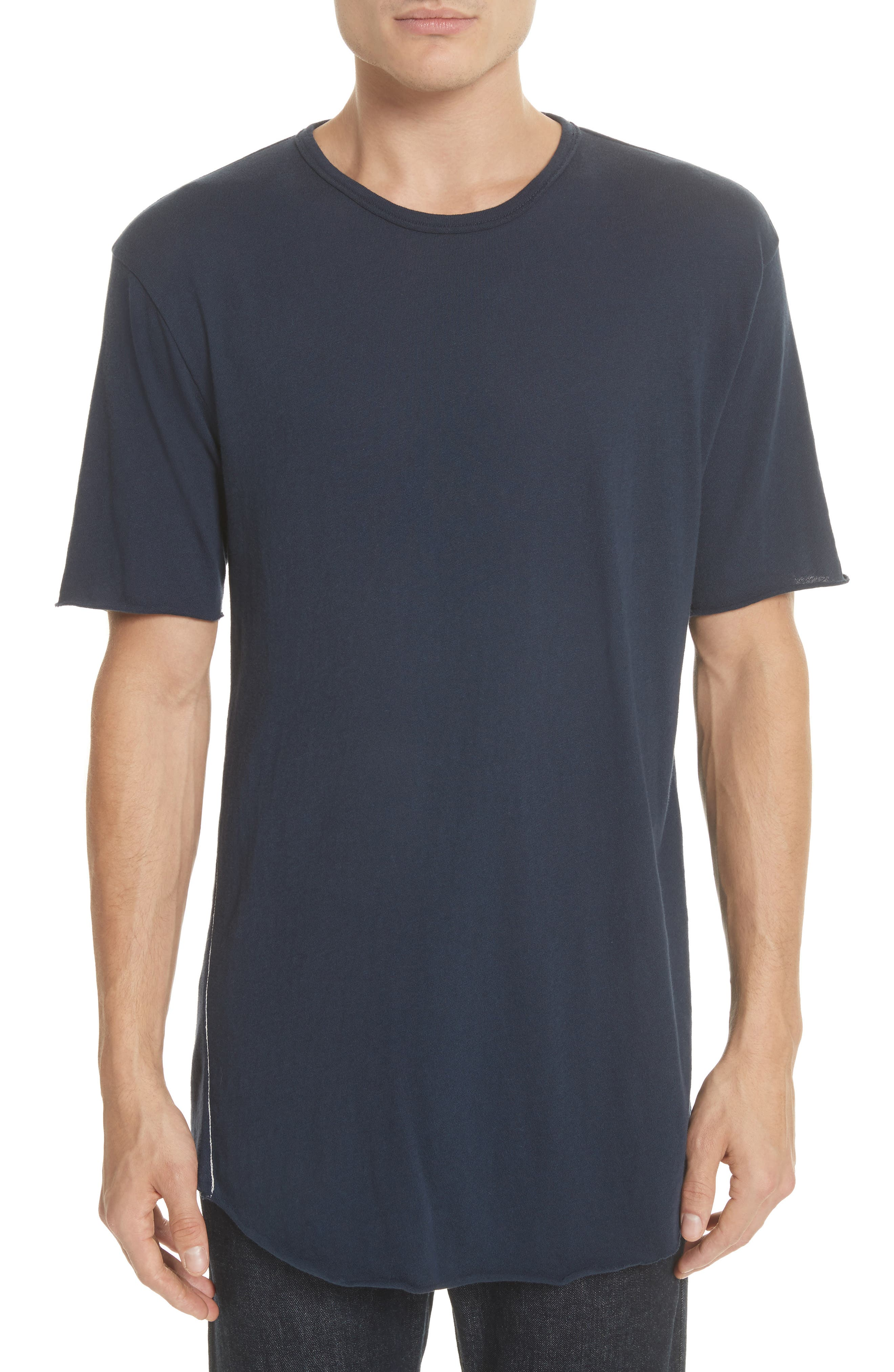 Hartley Crewneck Cotton & Linen T-Shirt,                         Main,                         color, Navy