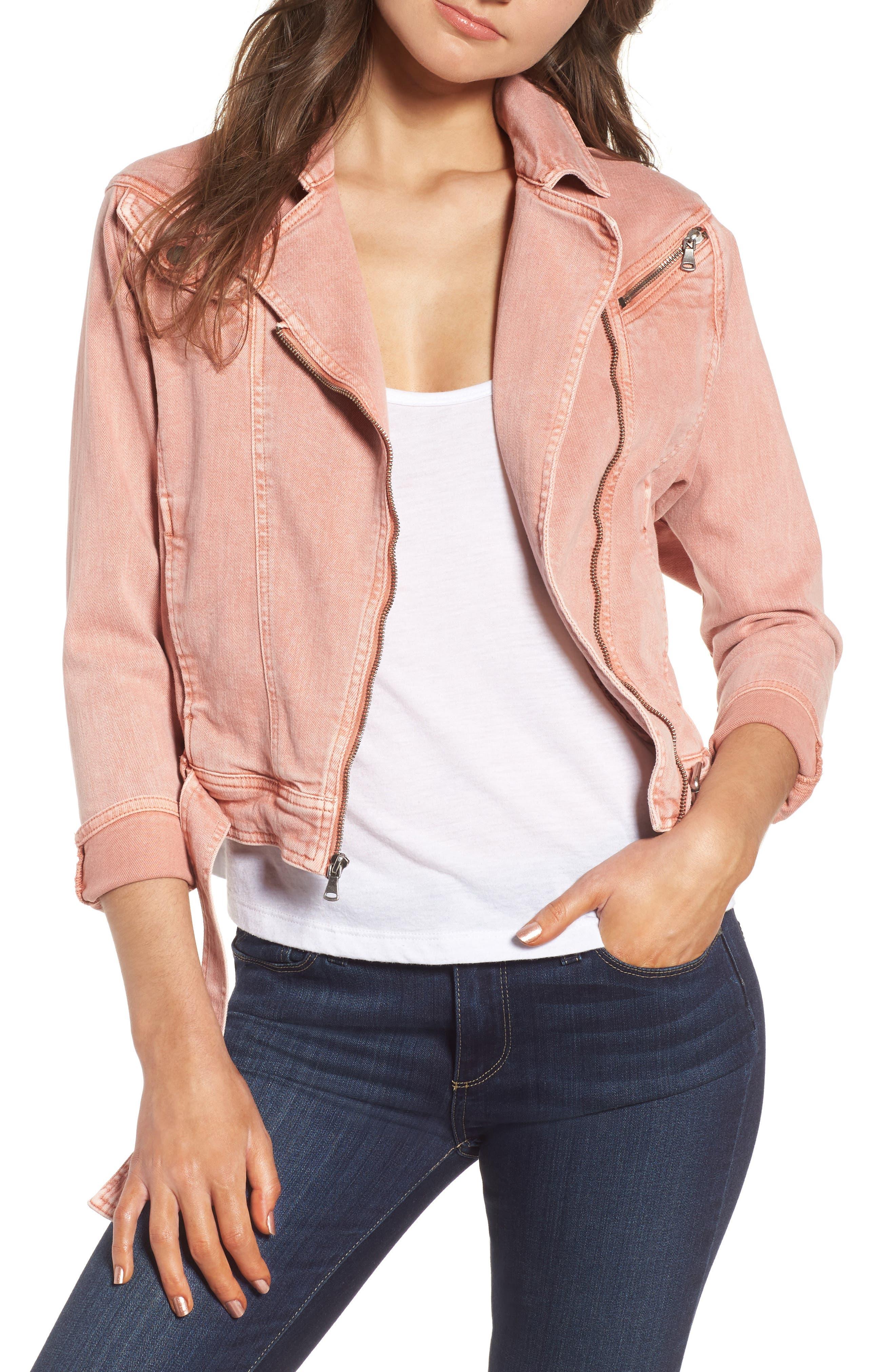 Sivan Denim Moto Jacket,                         Main,                         color, Desert Sunrise