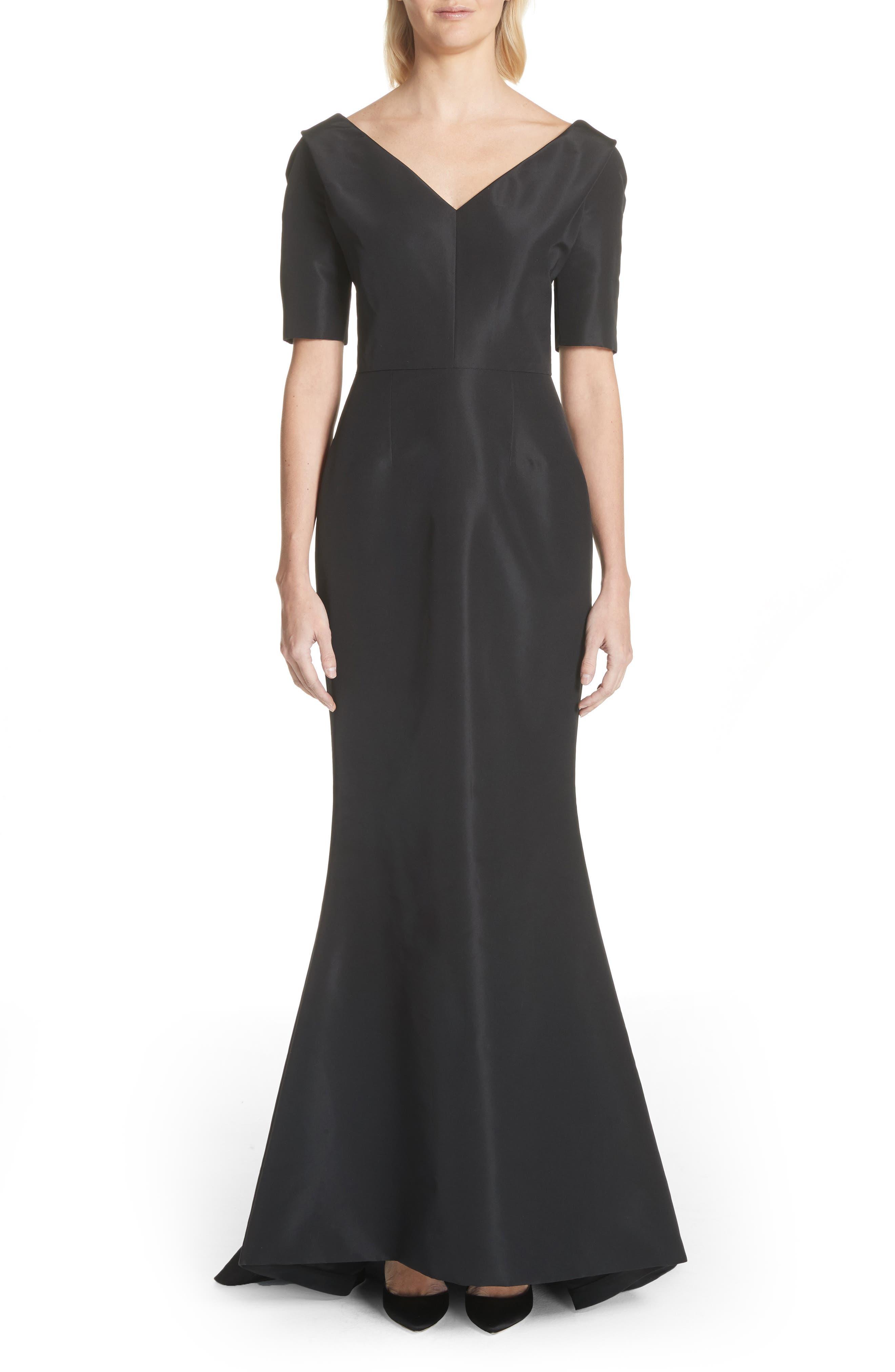 Silk Faille Mermaid Gown,                             Main thumbnail 1, color,                             Black
