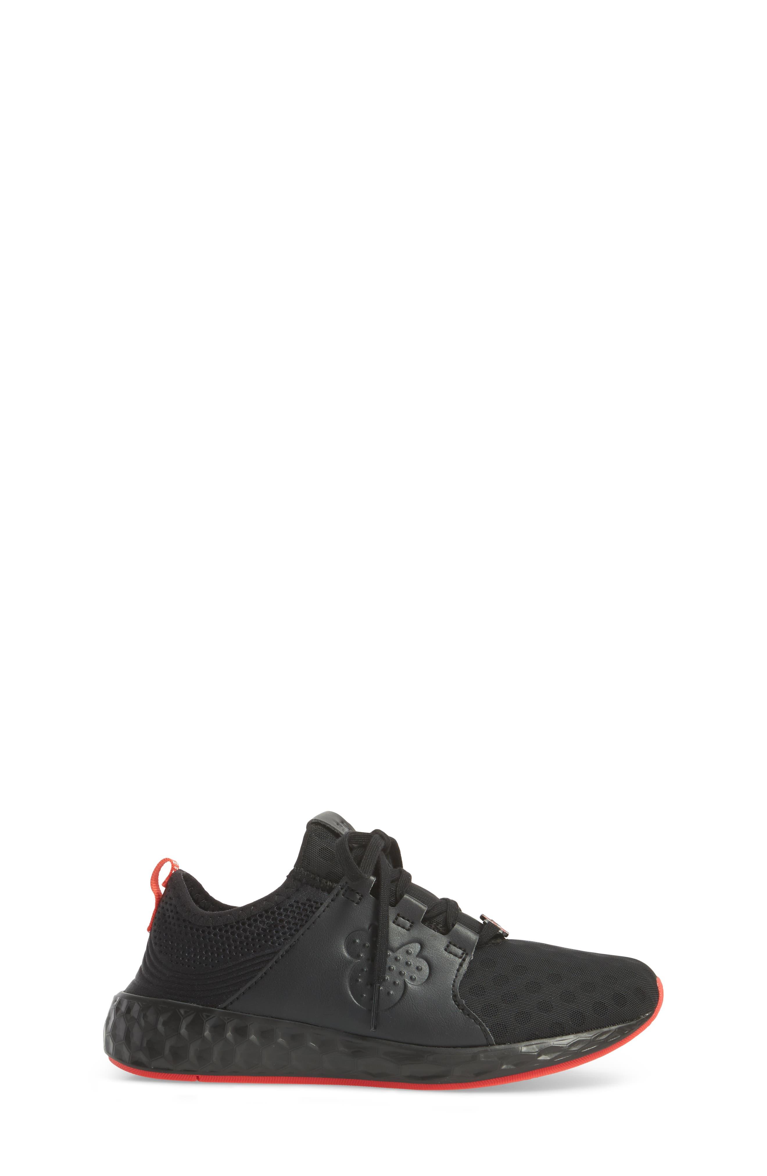 x Disney Minnie Mouse Cruz Sport Sneaker,                             Alternate thumbnail 3, color,                             Black/ Red