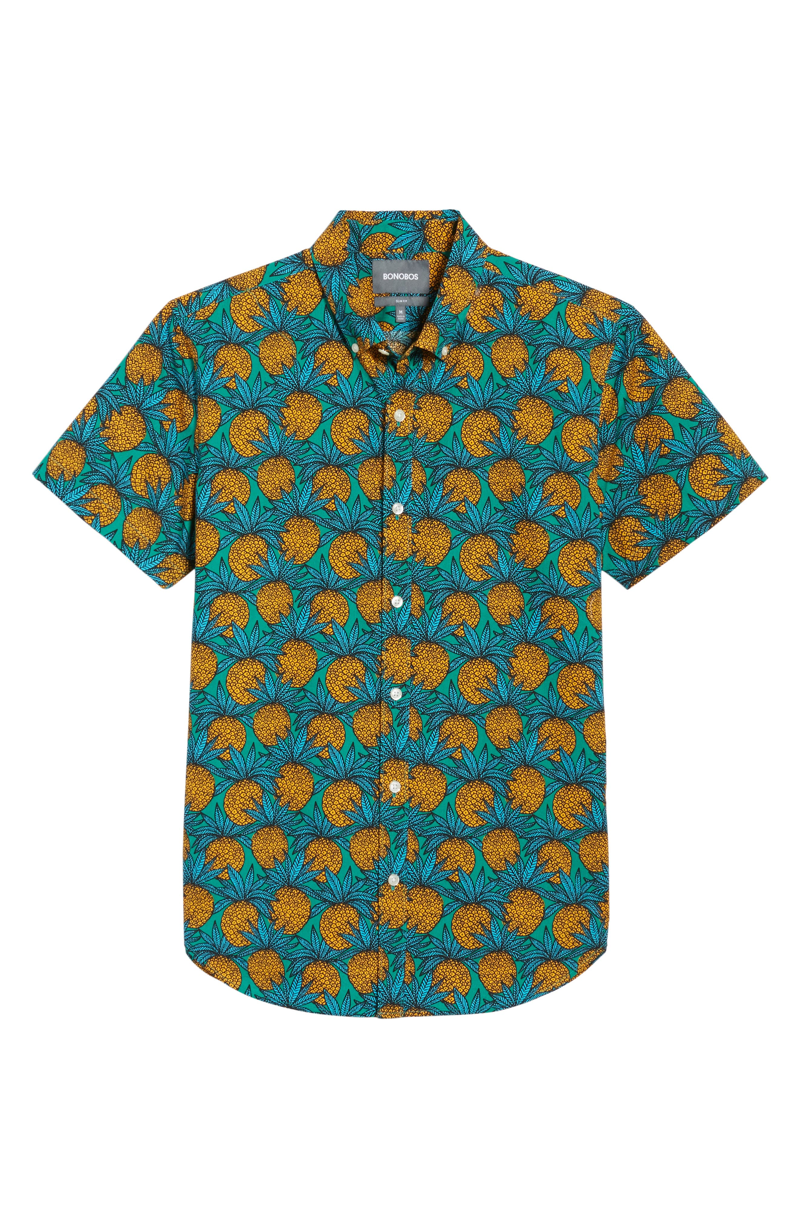 Slim Fit Print Short Sleeve Sport Shirt,                             Alternate thumbnail 6, color,                             Pineapple Fields - Lush Meadow
