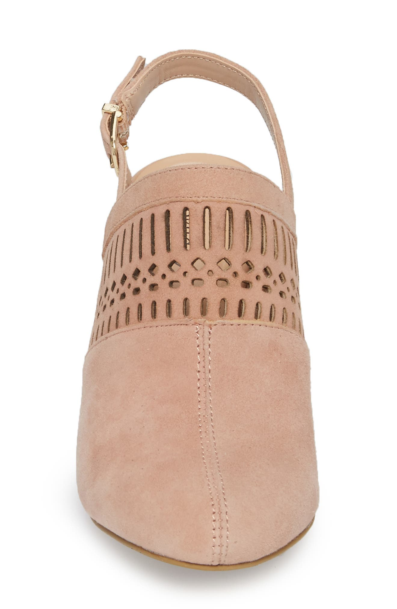Nox Slingback Perforated Pump,                             Alternate thumbnail 4, color,                             Blush Suede