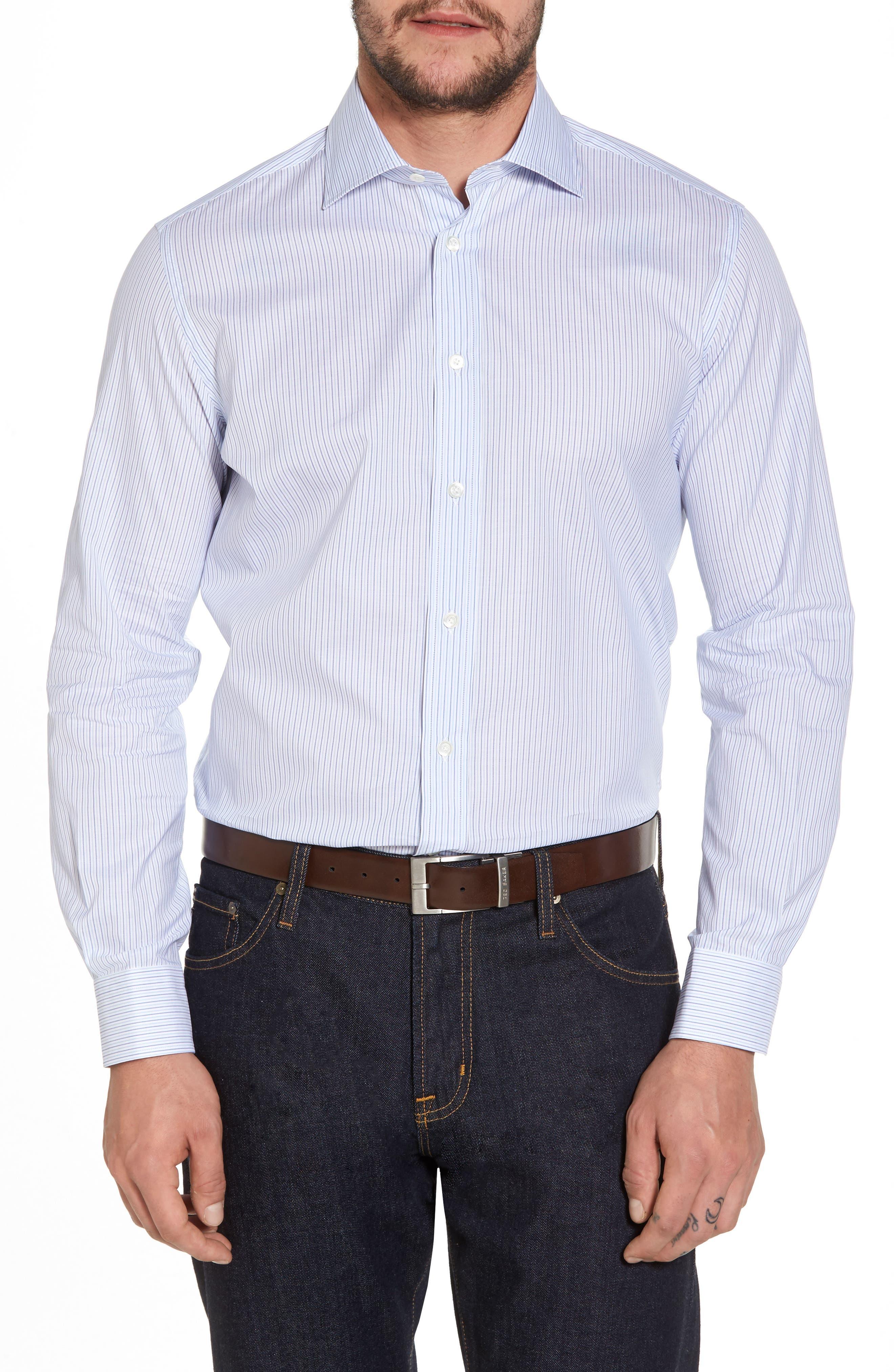 Trim Fit Stripe Sport Shirt,                         Main,                         color, Navy