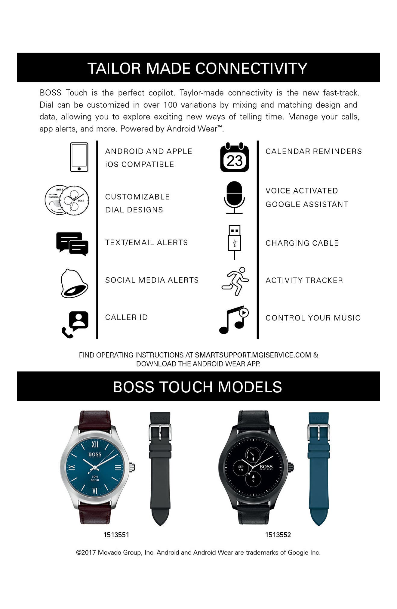 Alternate Image 5  - BOSS Touch Leather Strap Smart Watch Set