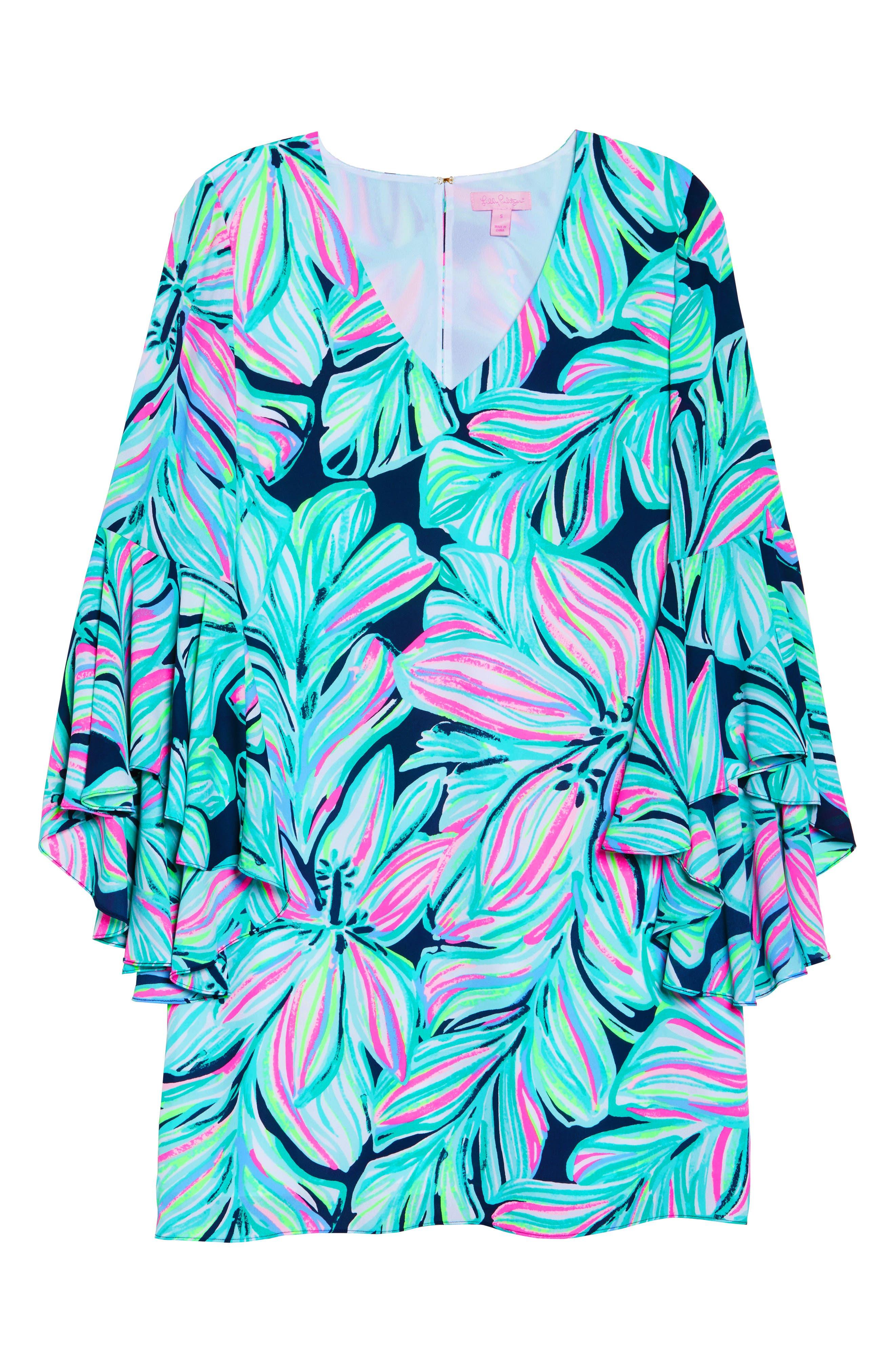 Rosalia Bell Sleeve A-Line Dress,                             Alternate thumbnail 6, color,                             High Tide Navy Dancing Lady