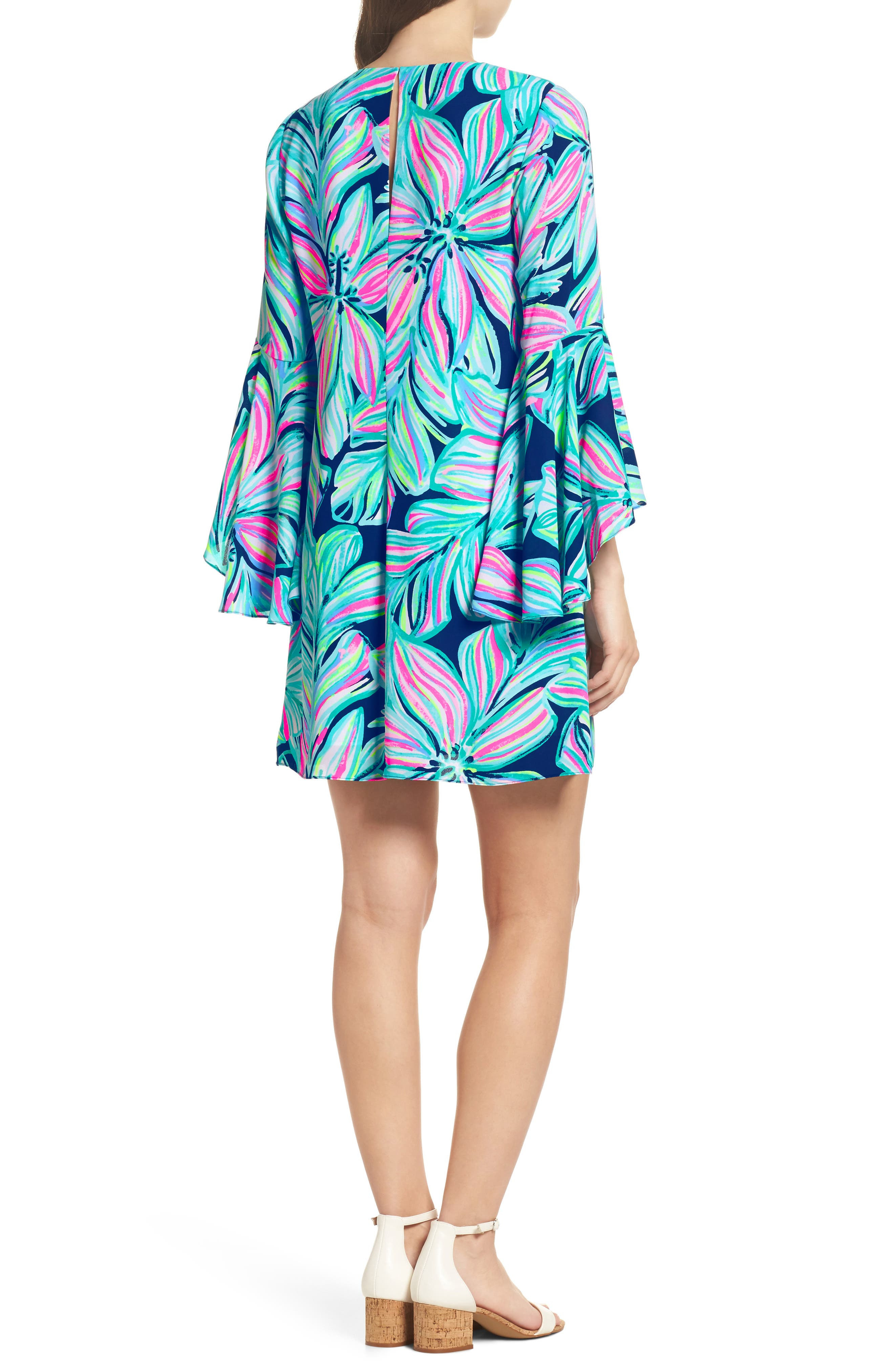 Rosalia Bell Sleeve A-Line Dress,                             Alternate thumbnail 2, color,                             High Tide Navy Dancing Lady