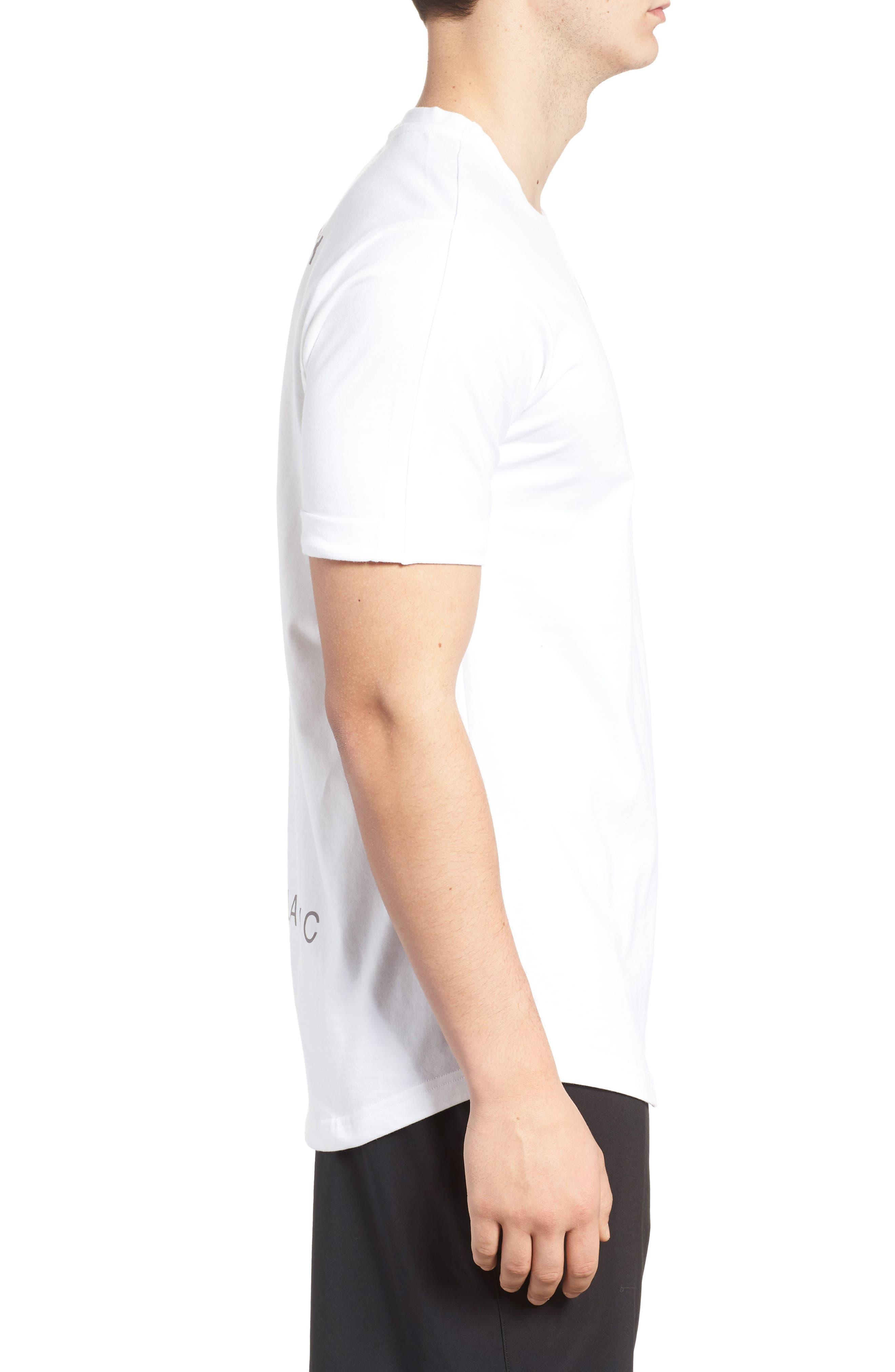 Extended Regular Crewneck T-Shirt,                             Alternate thumbnail 3, color,                             White