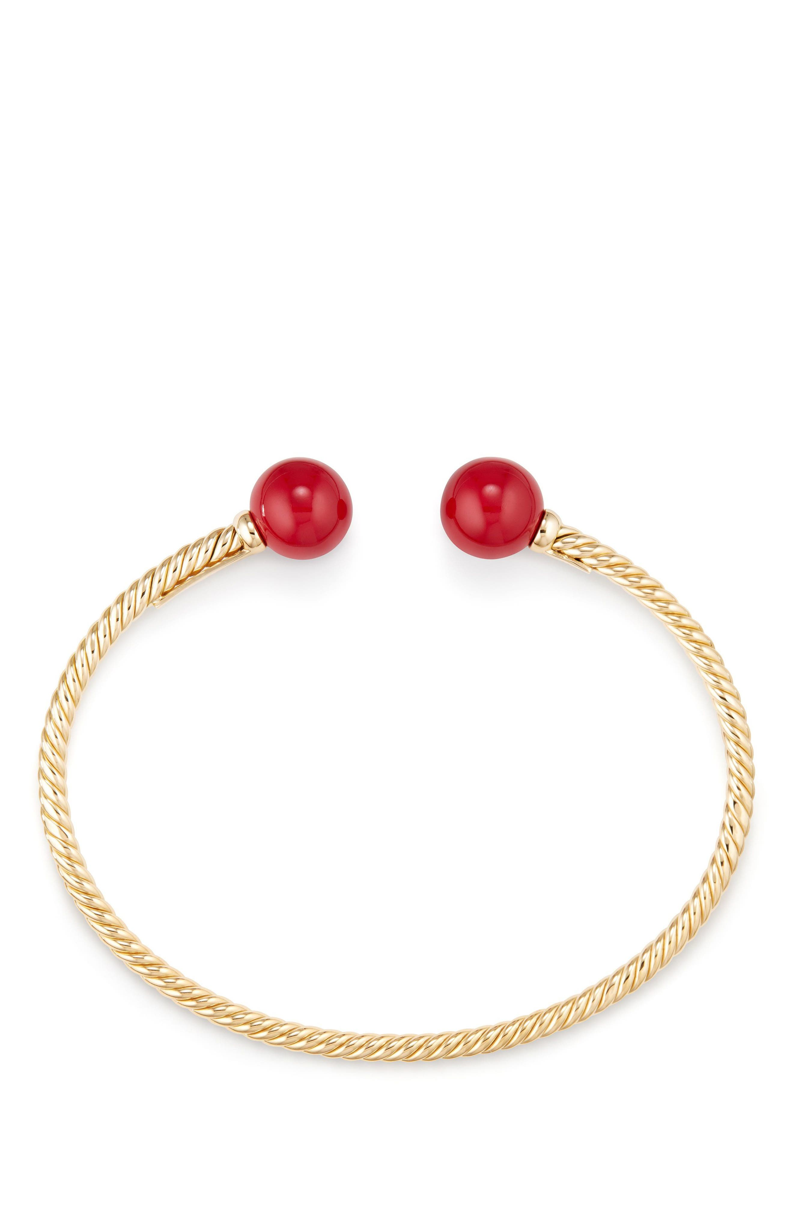 Solari Bead Bracelet with 18K Gold and Red Enamel,                             Alternate thumbnail 2, color,                             Yellow Gold/ Red