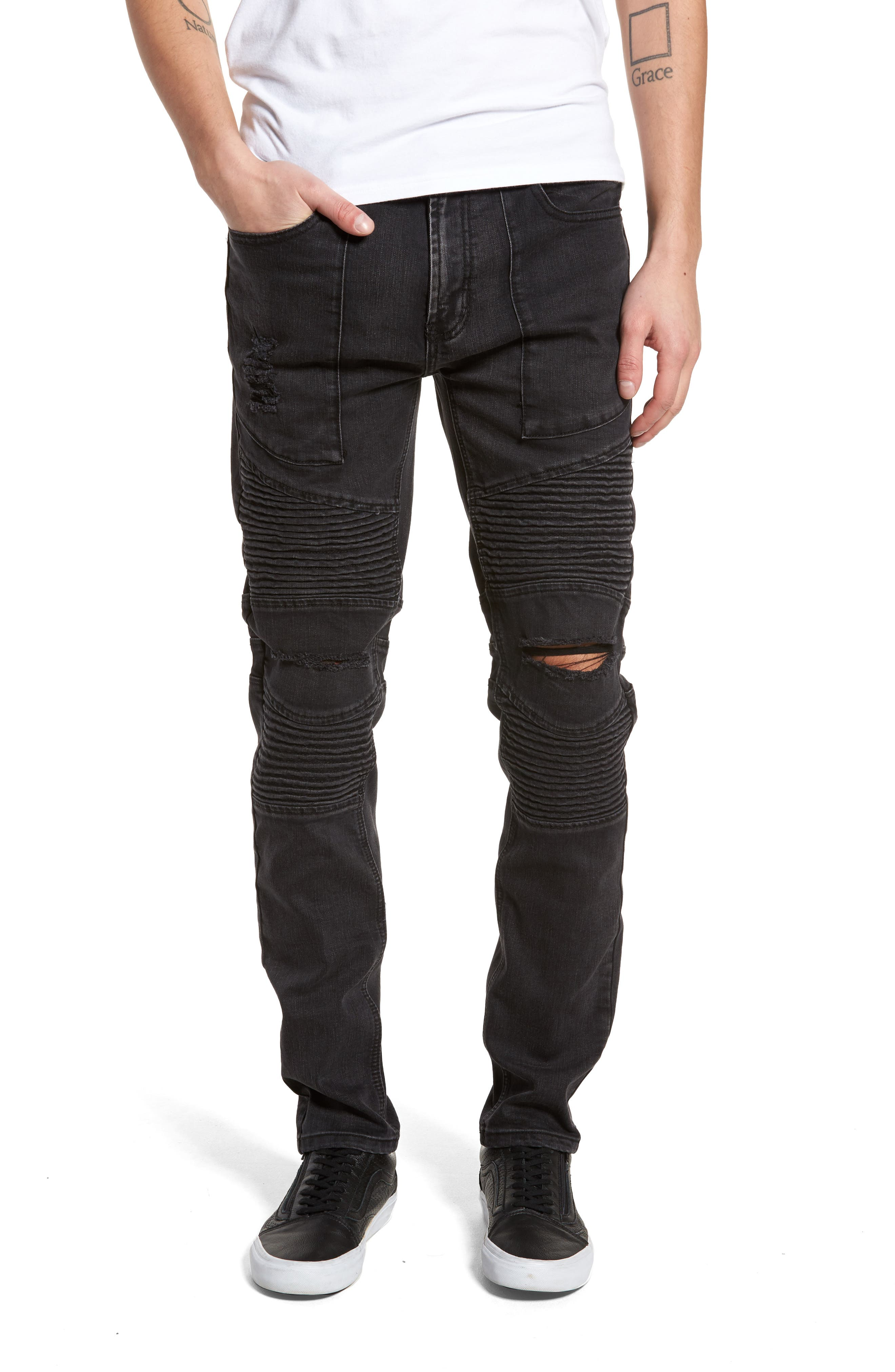 Baxter Ripped Jeans,                             Main thumbnail 1, color,                             Faded Black