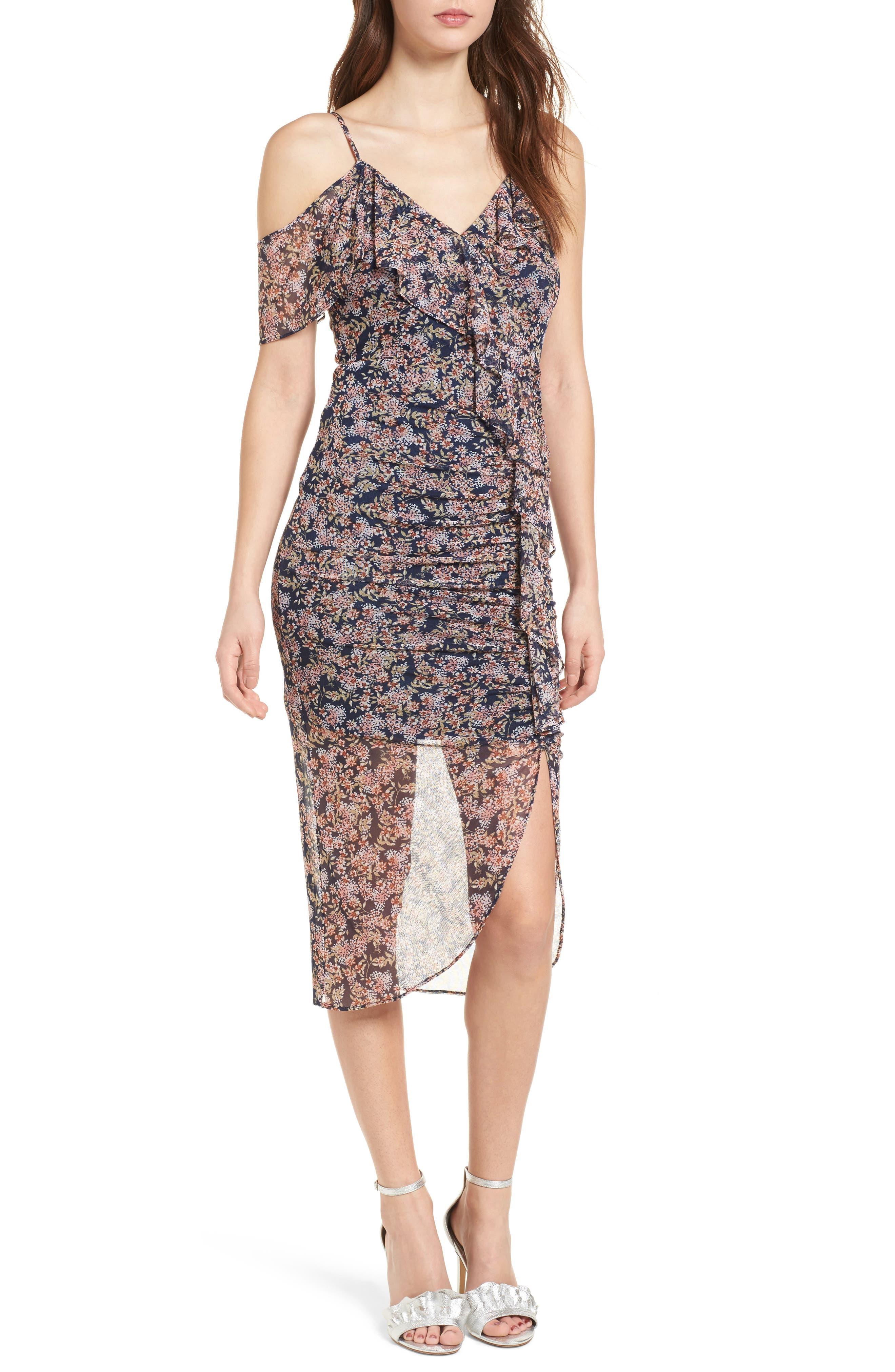 Cold Shoulder Ruffle Mesh Dress,                         Main,                         color, Navy Ditsy Floral