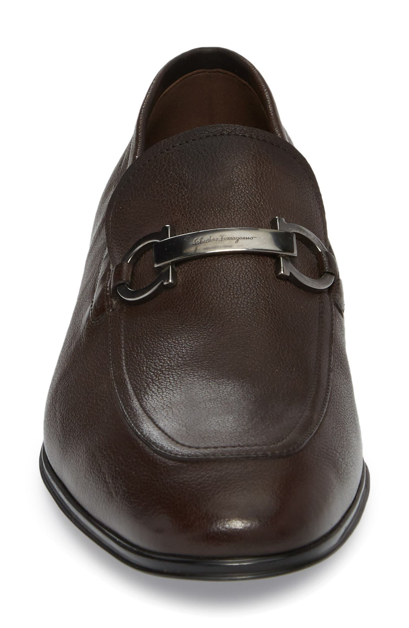 Borges Apron Toe Loafer,                             Alternate thumbnail 4, color,                             Brown Leather