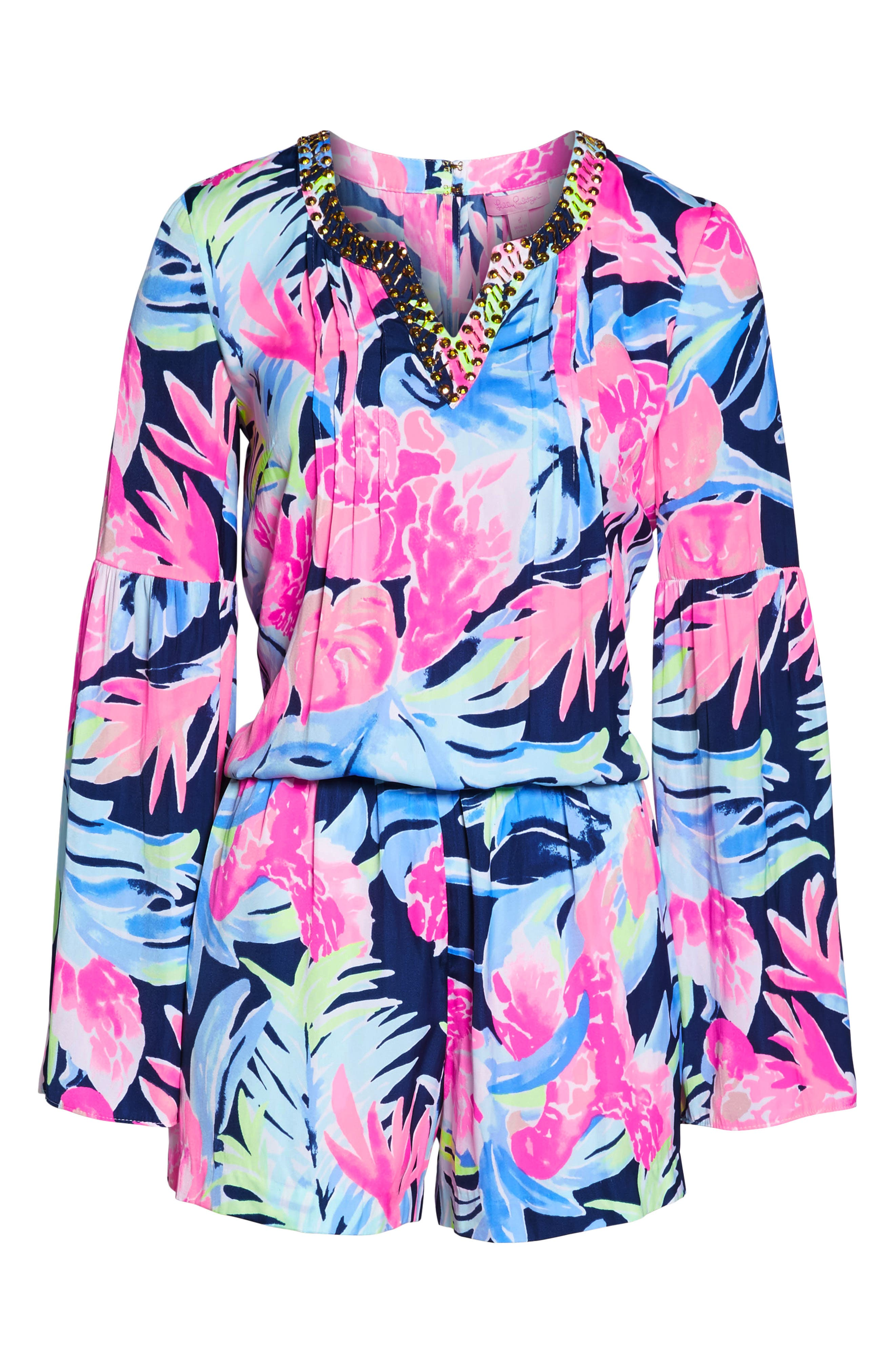 Ariele Floral Romper,                             Alternate thumbnail 6, color,                             High Tide Tropicolada