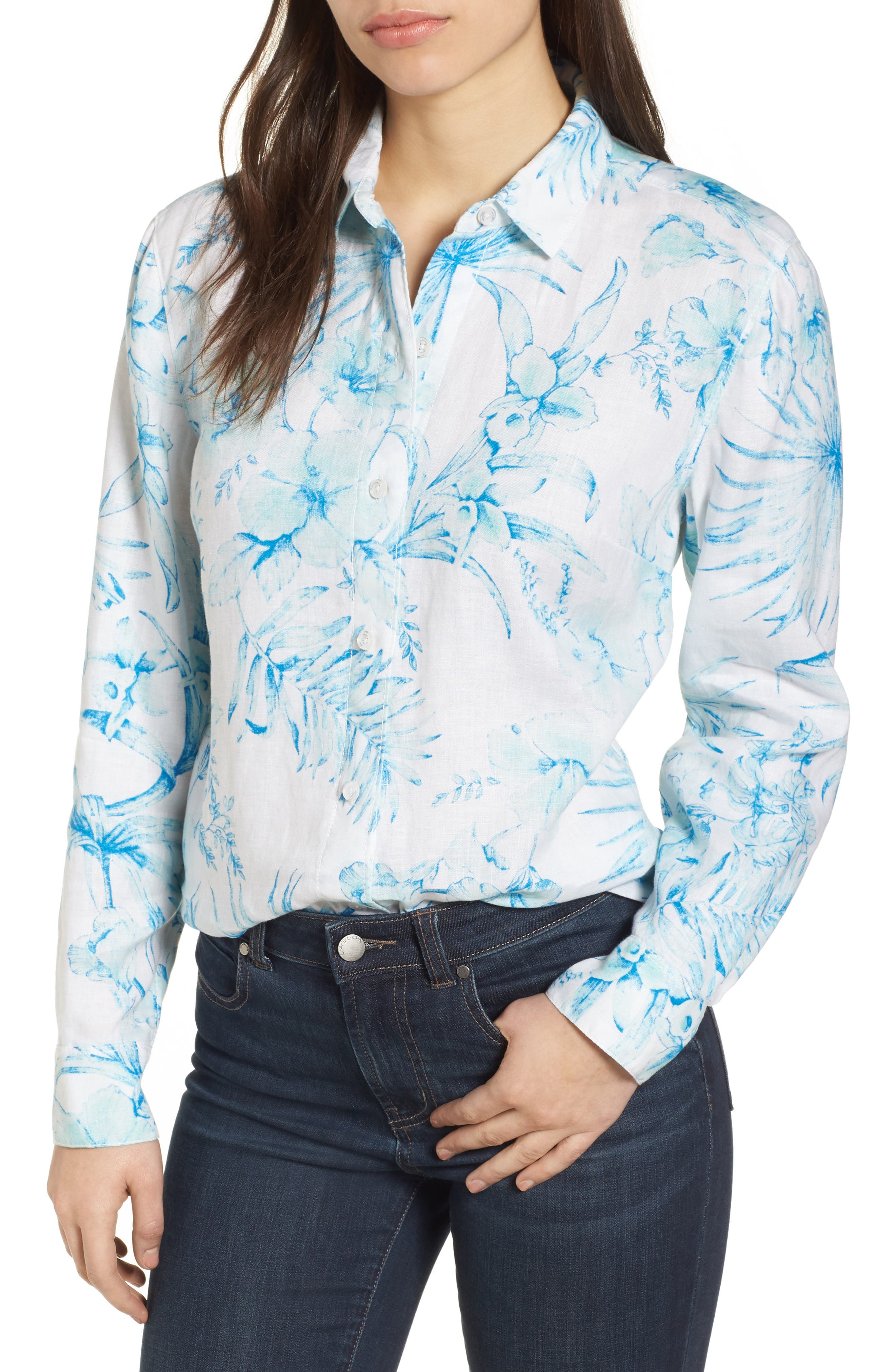 Tulum Tropical Linen Shirt,                             Main thumbnail 1, color,                             Blue Radiance