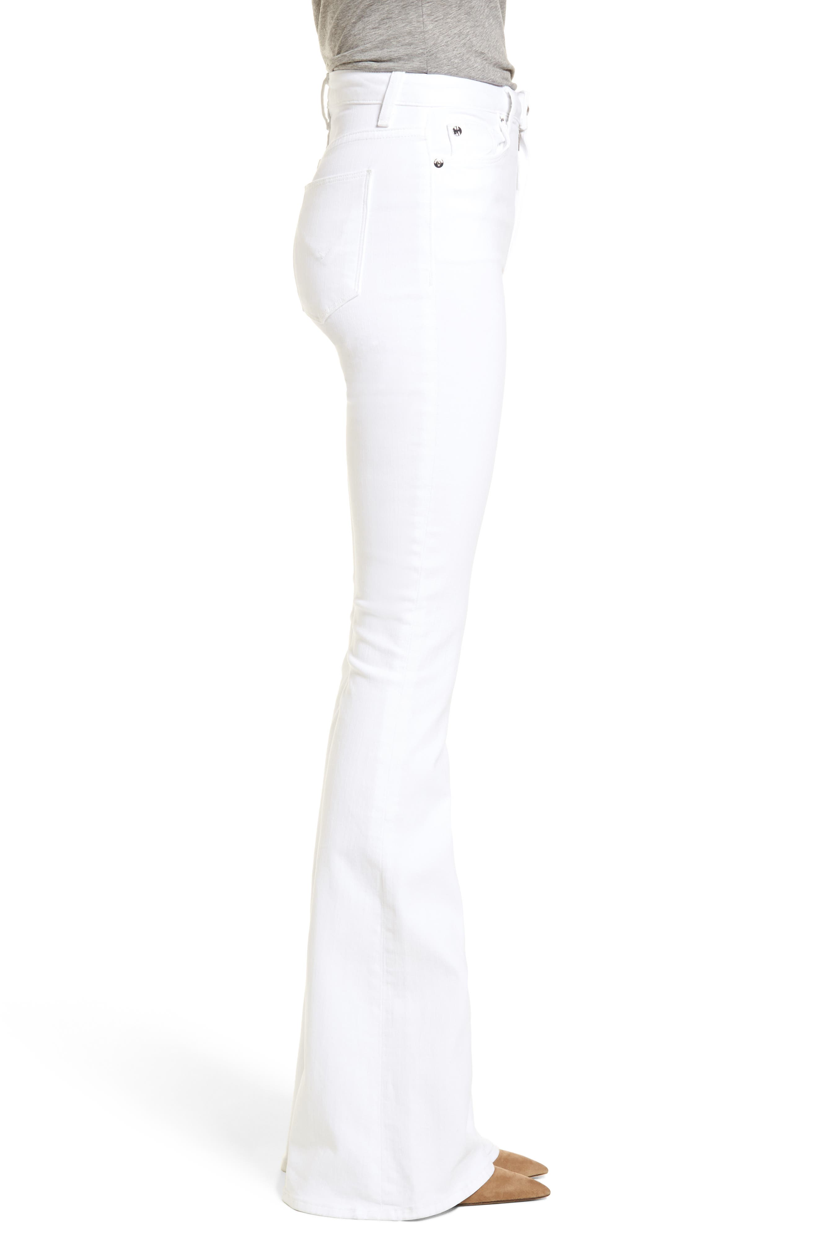 Holly High Waist Flare Jeans,                             Alternate thumbnail 3, color,                             Optical White