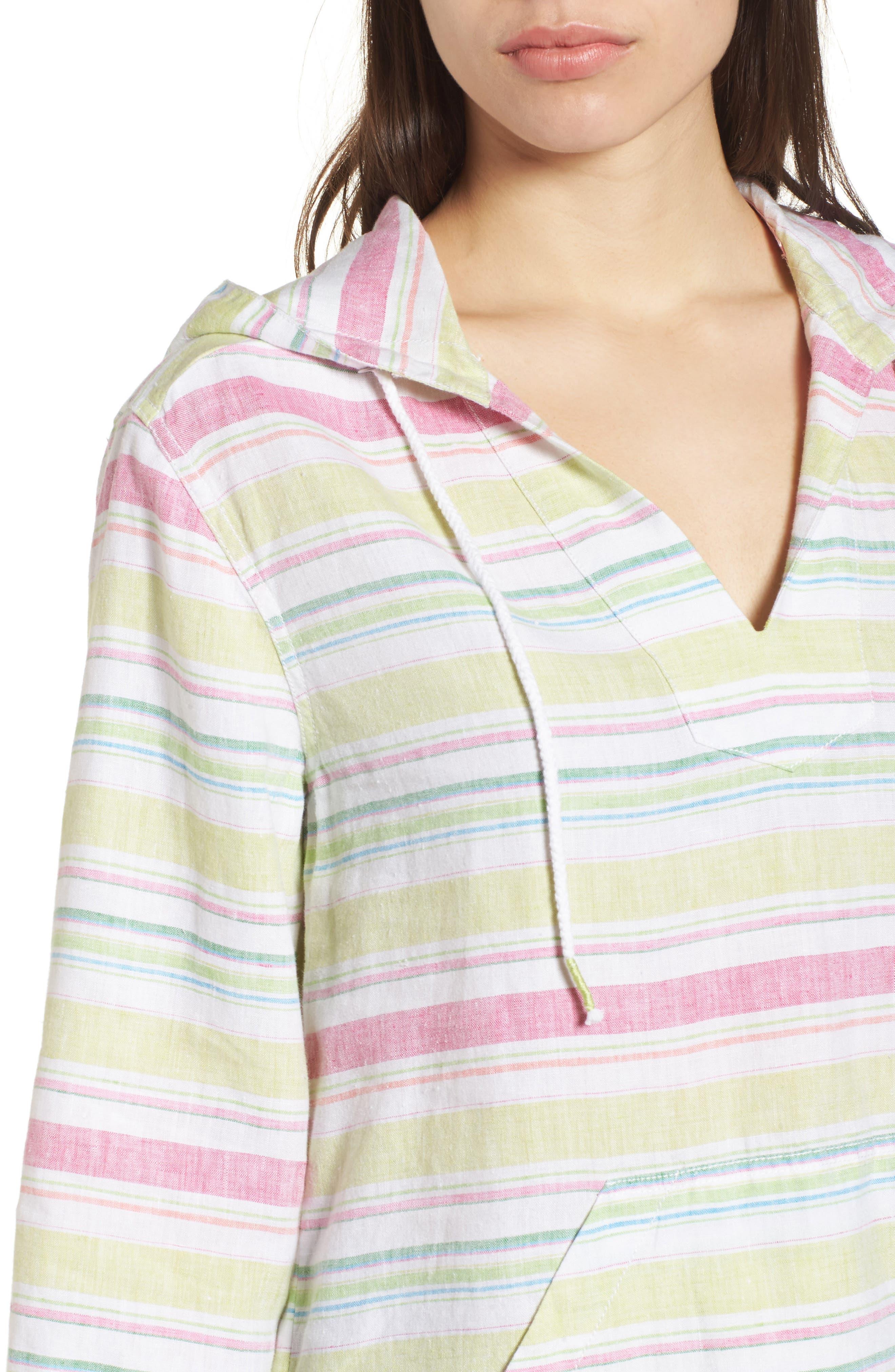 Tulum Stripe Linen Hoodie,                             Alternate thumbnail 4, color,                             Energy Yellow