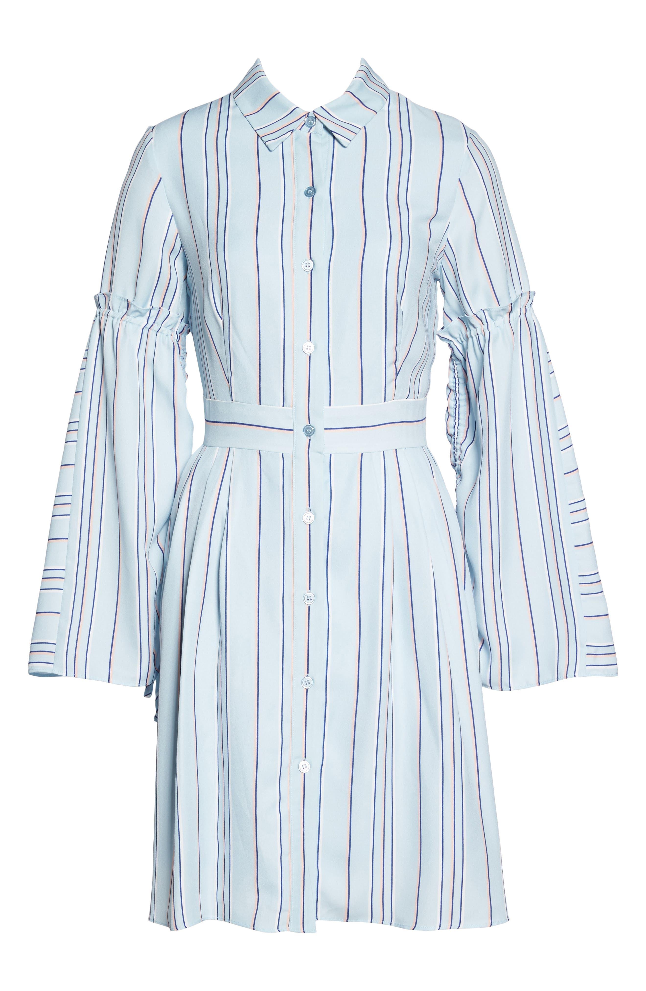 Stripe Shirtdress,                             Alternate thumbnail 6, color,                             Powder Blue Multi
