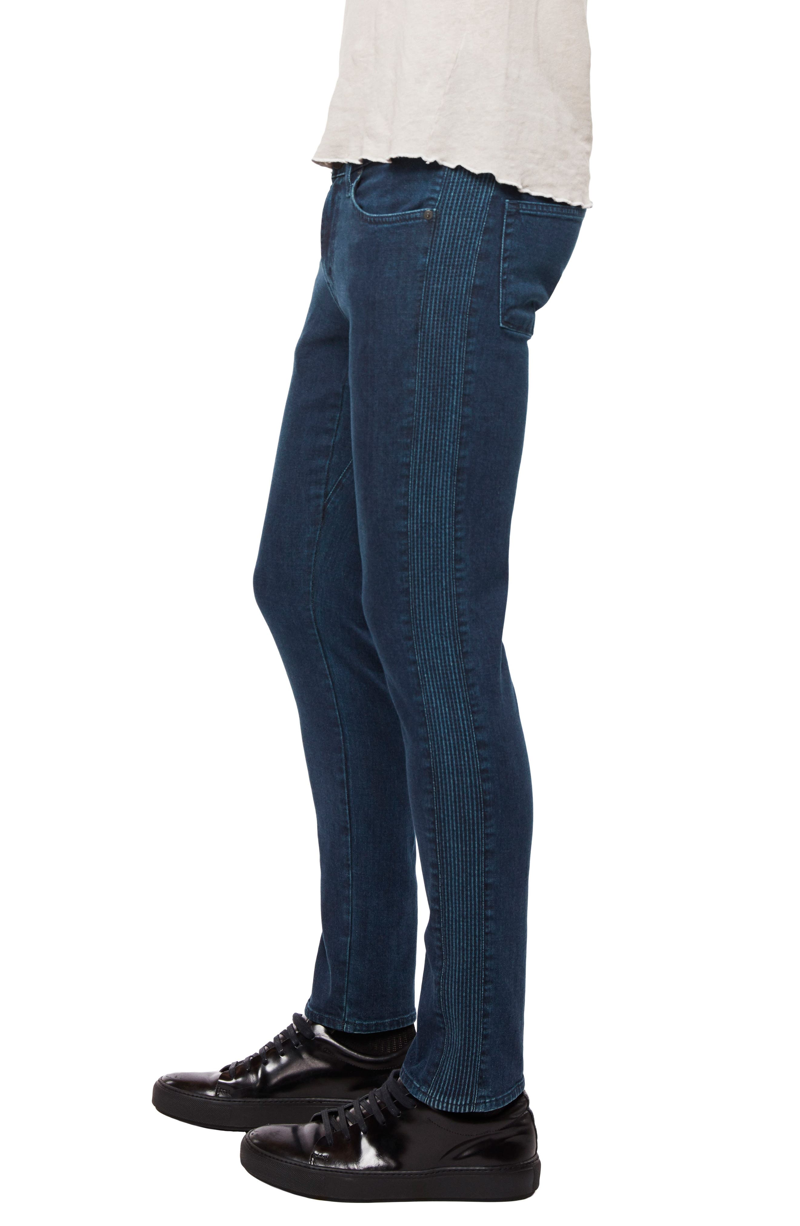 Moto Skinny Fit Jeans,                             Alternate thumbnail 3, color,                             Afantic