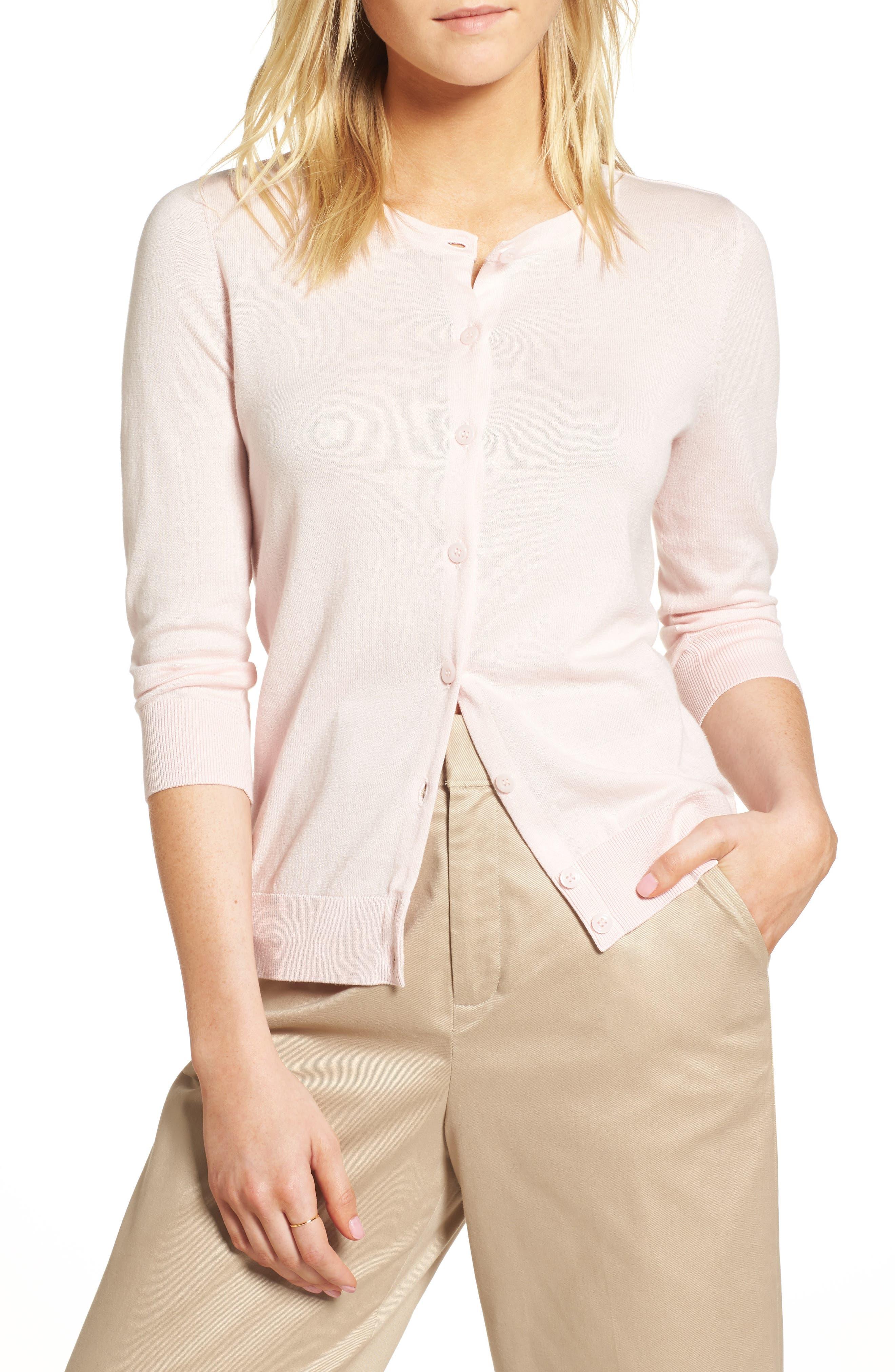 Cotton Blend Cardigan,                             Main thumbnail 1, color,                             Pink Potpourri