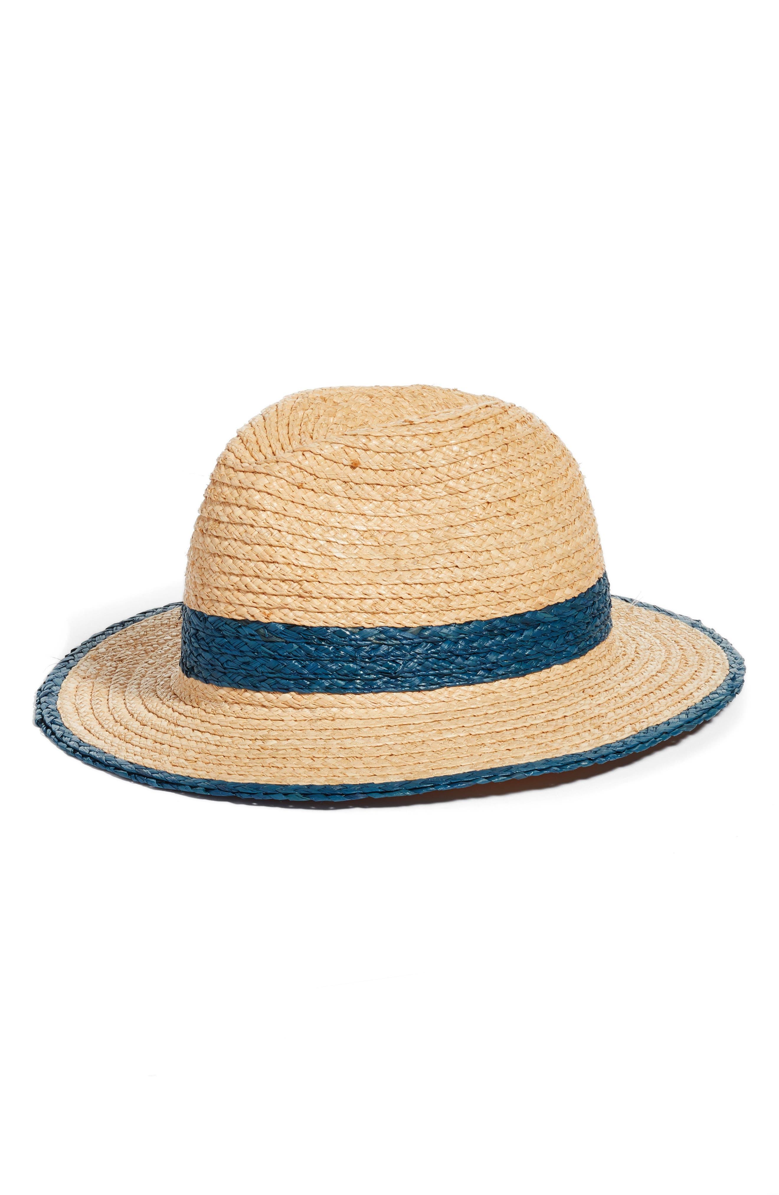 Contrast Trim Straw Panama Hat,                             Main thumbnail 1, color,                             Natural Combo