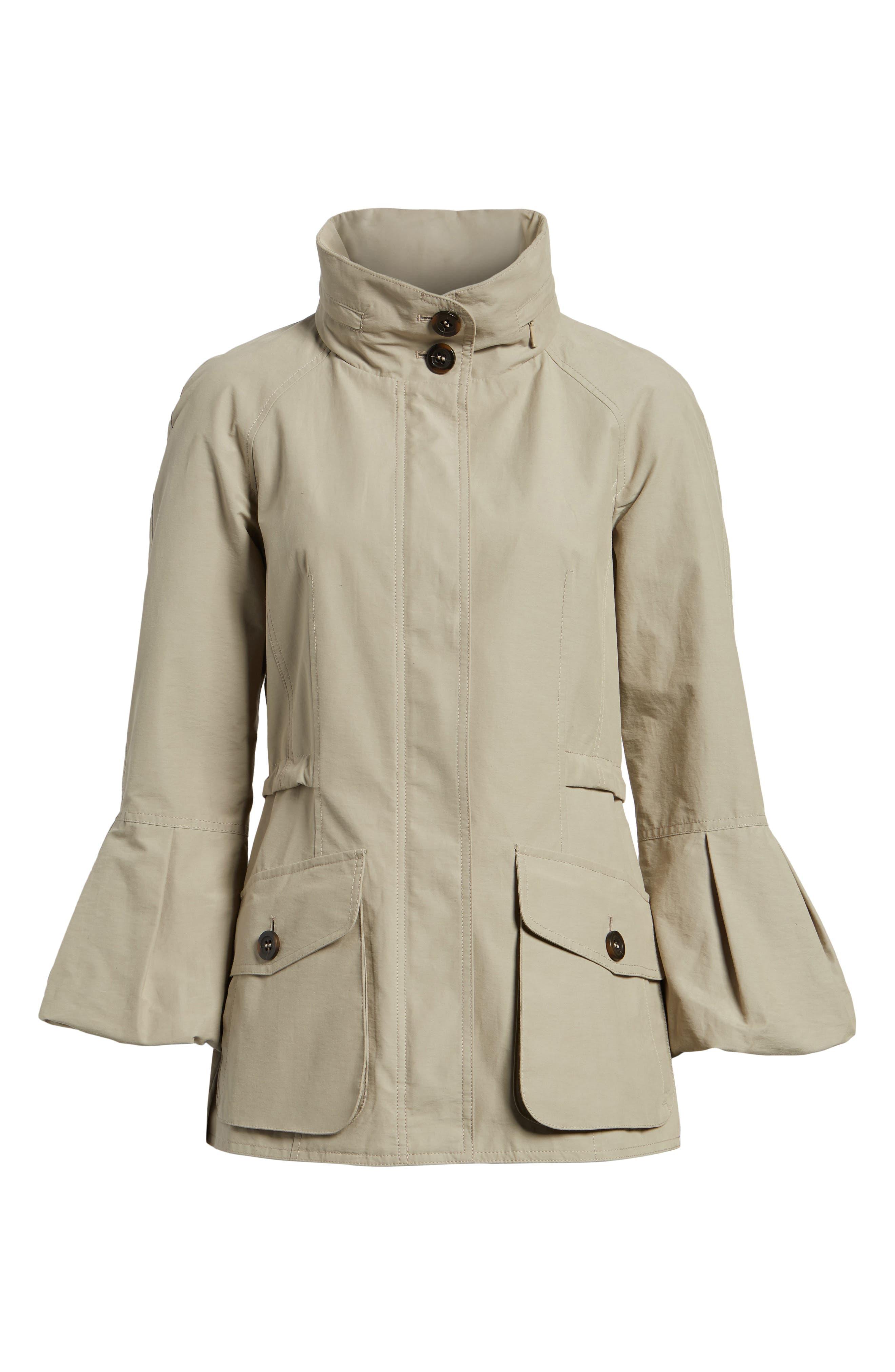 Alternate Image 6  - Gallery Bell Sleeve Jacket with Stowaway Hood