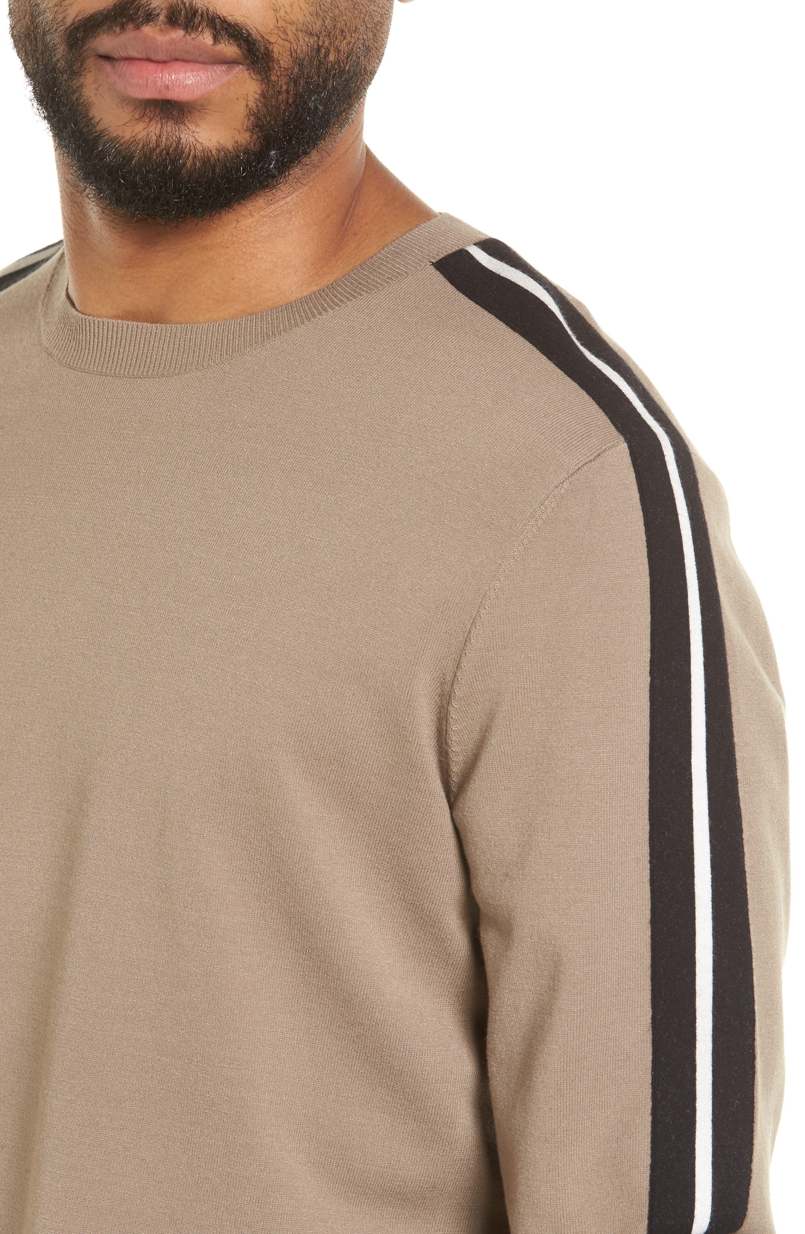 Track Stripe Crewneck Sweater,                             Alternate thumbnail 4, color,                             Pebble Taupe