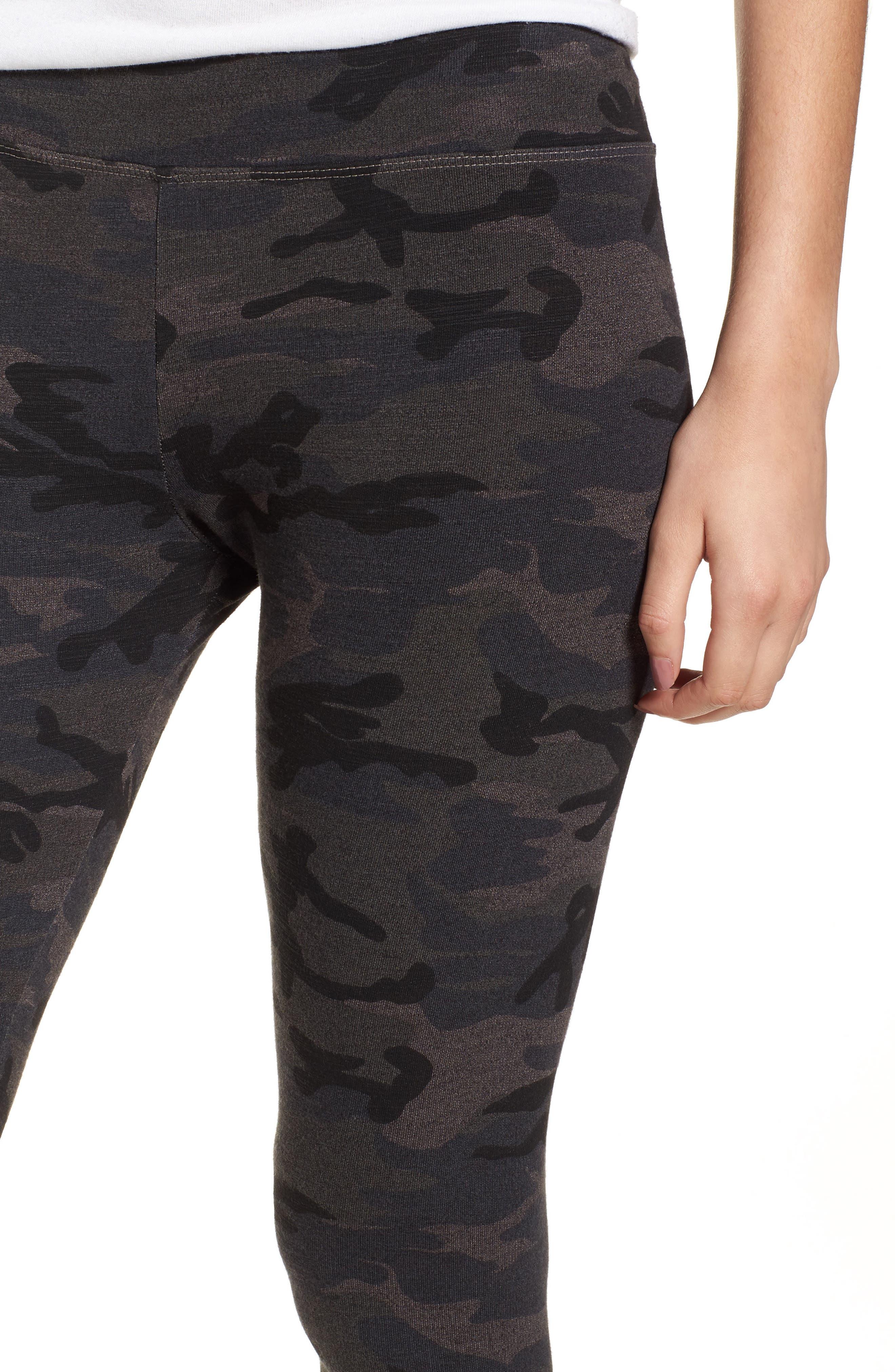 Camo Yoga Pants,                             Alternate thumbnail 4, color,                             Charcoal