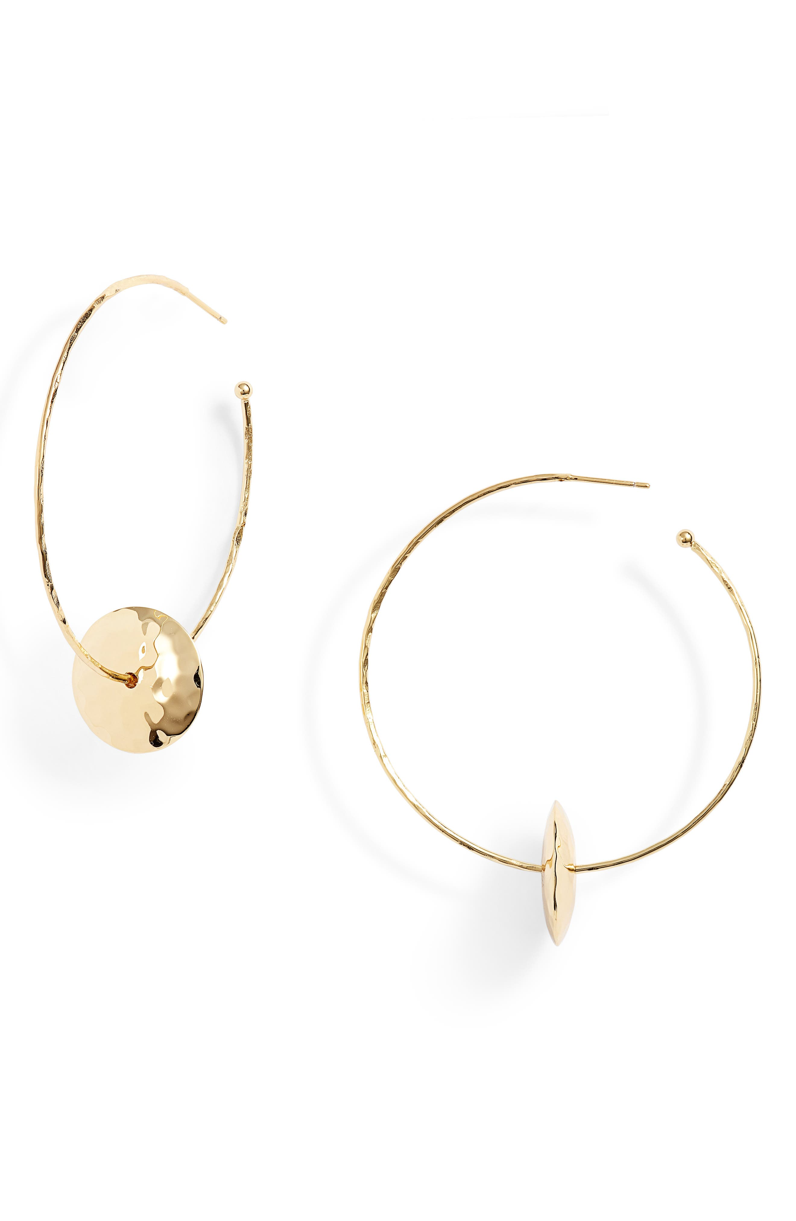 Marlow Hammered Disc Hoop Earrings,                             Main thumbnail 1, color,                             Gold