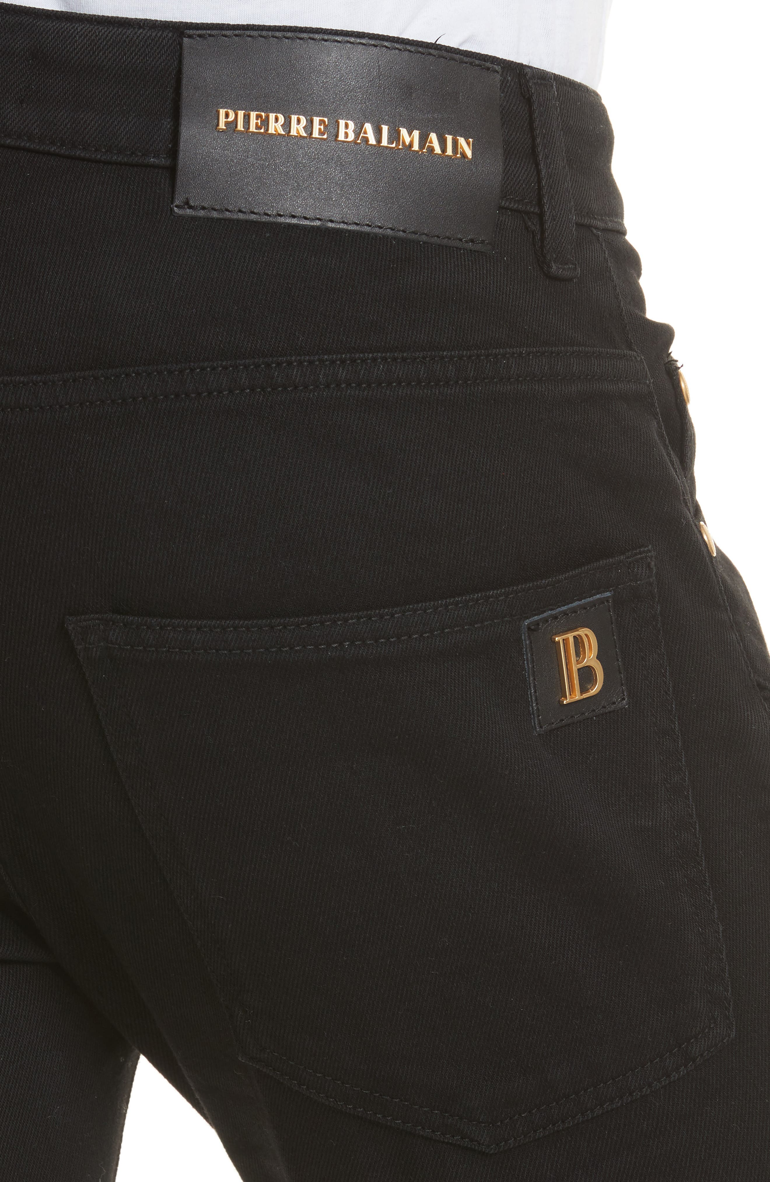 Moto Jeans,                             Alternate thumbnail 4, color,                             Black Denim