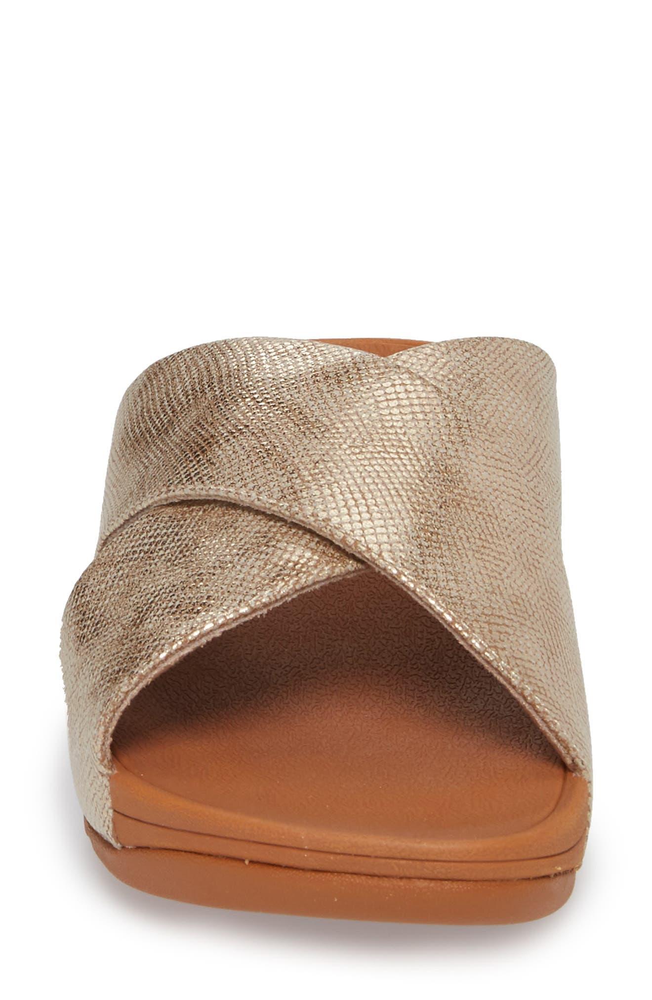 Lulu Cross Slide Sandal,                             Alternate thumbnail 4, color,                             Gold Shimmer Print