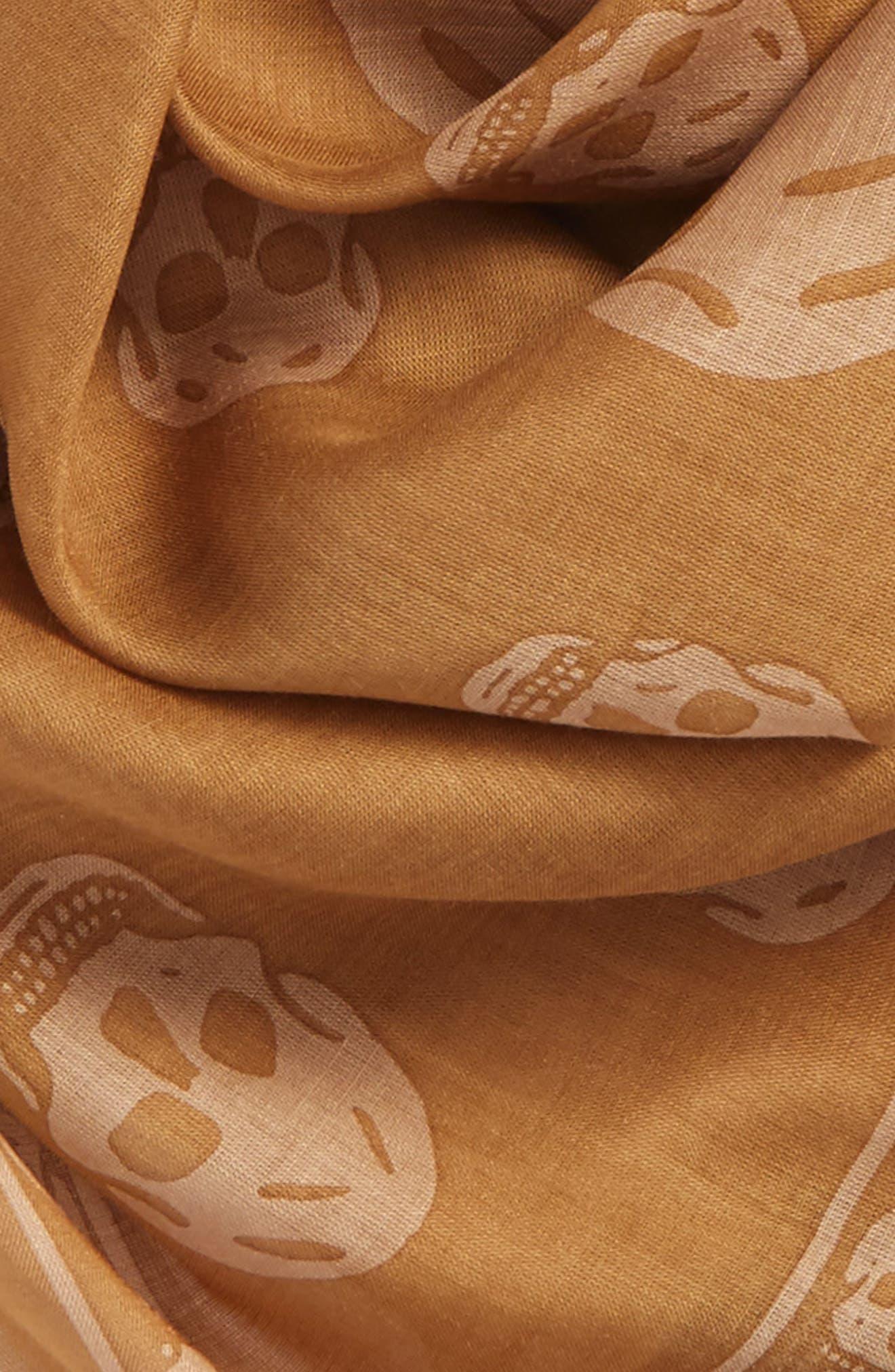 Skull Print Modal & Silk Scarf,                             Alternate thumbnail 3, color,                             Camel/ Beige