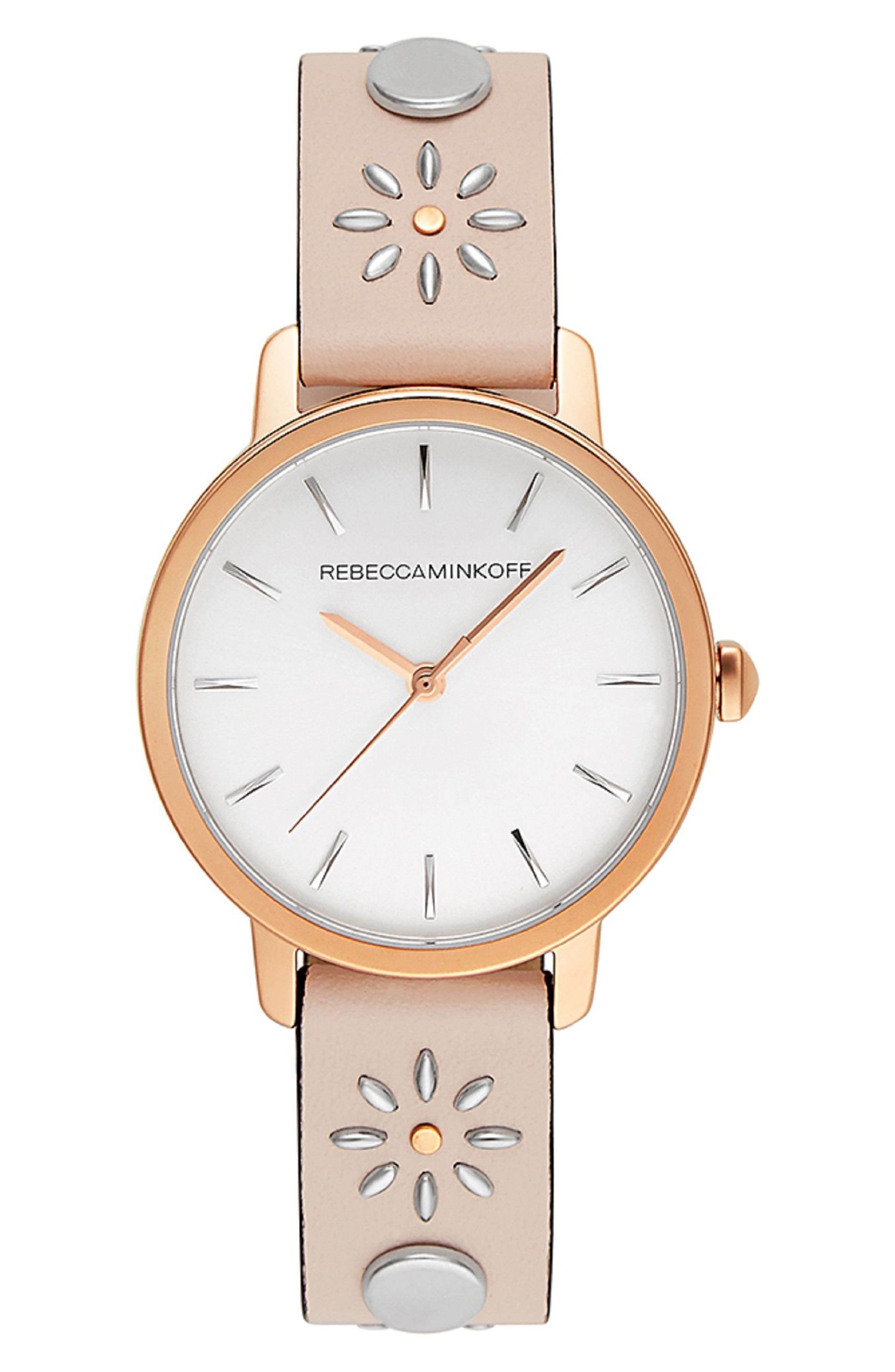 BFFL Studded Leather Strap Watch, 36mm,                         Main,                         color, Blush/ Silver/ Rose Gold