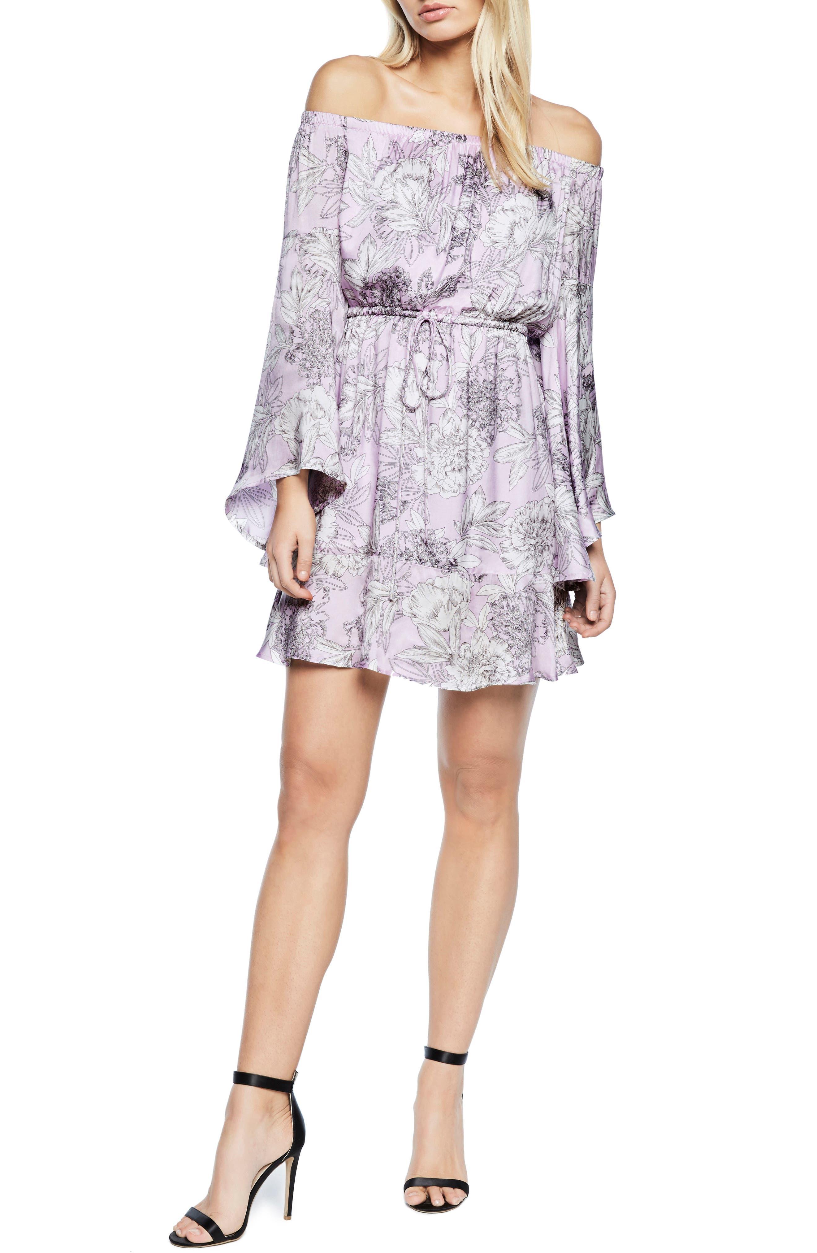 Britt Off the Shoulder Dress,                         Main,                         color, Spring Bloom