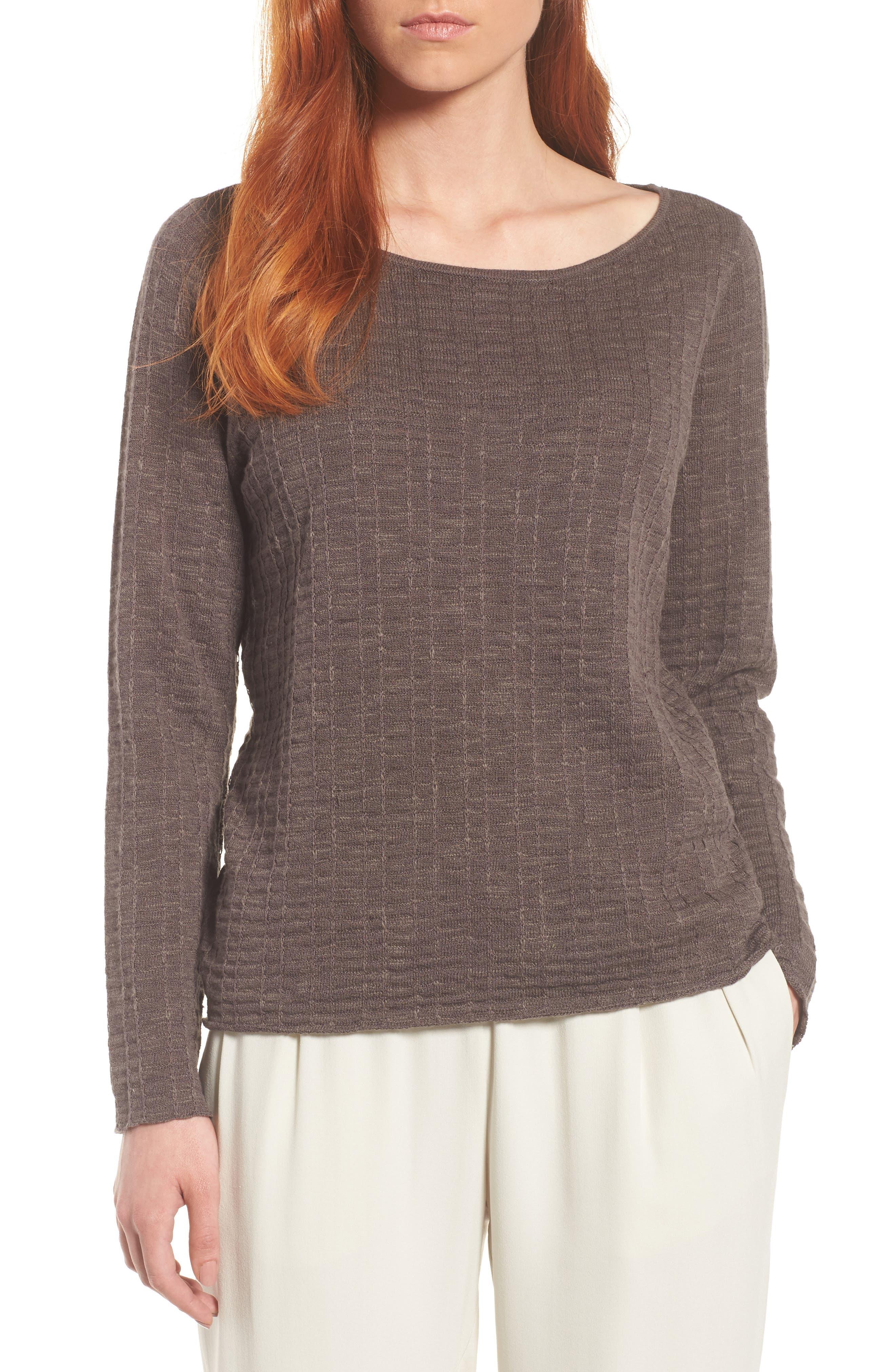Organic Linen & Cotton Sweater,                             Main thumbnail 1, color,                             Rye