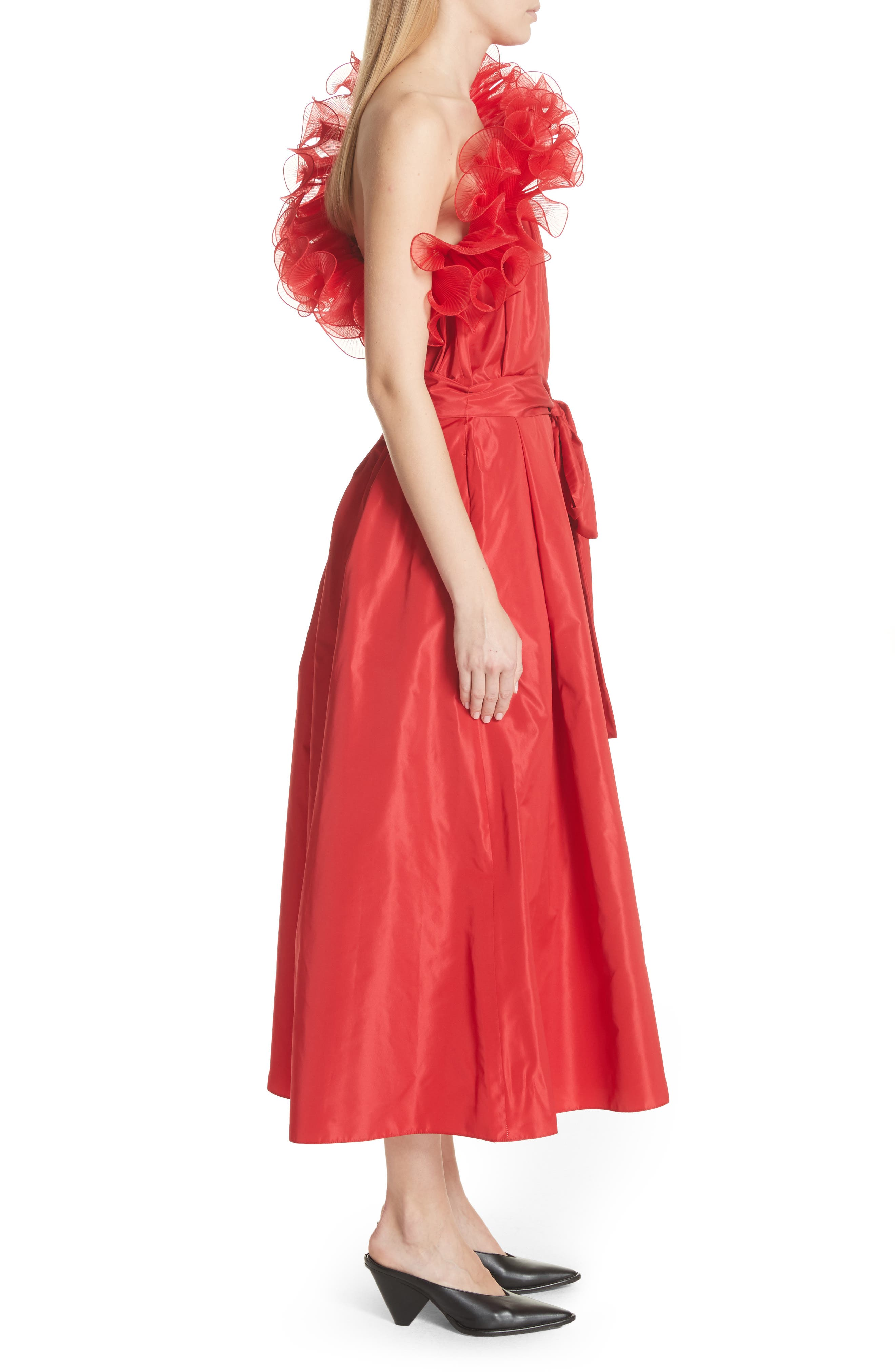 One-Shoulder Ruffle Taffeta Dress,                             Alternate thumbnail 3, color,                             Red