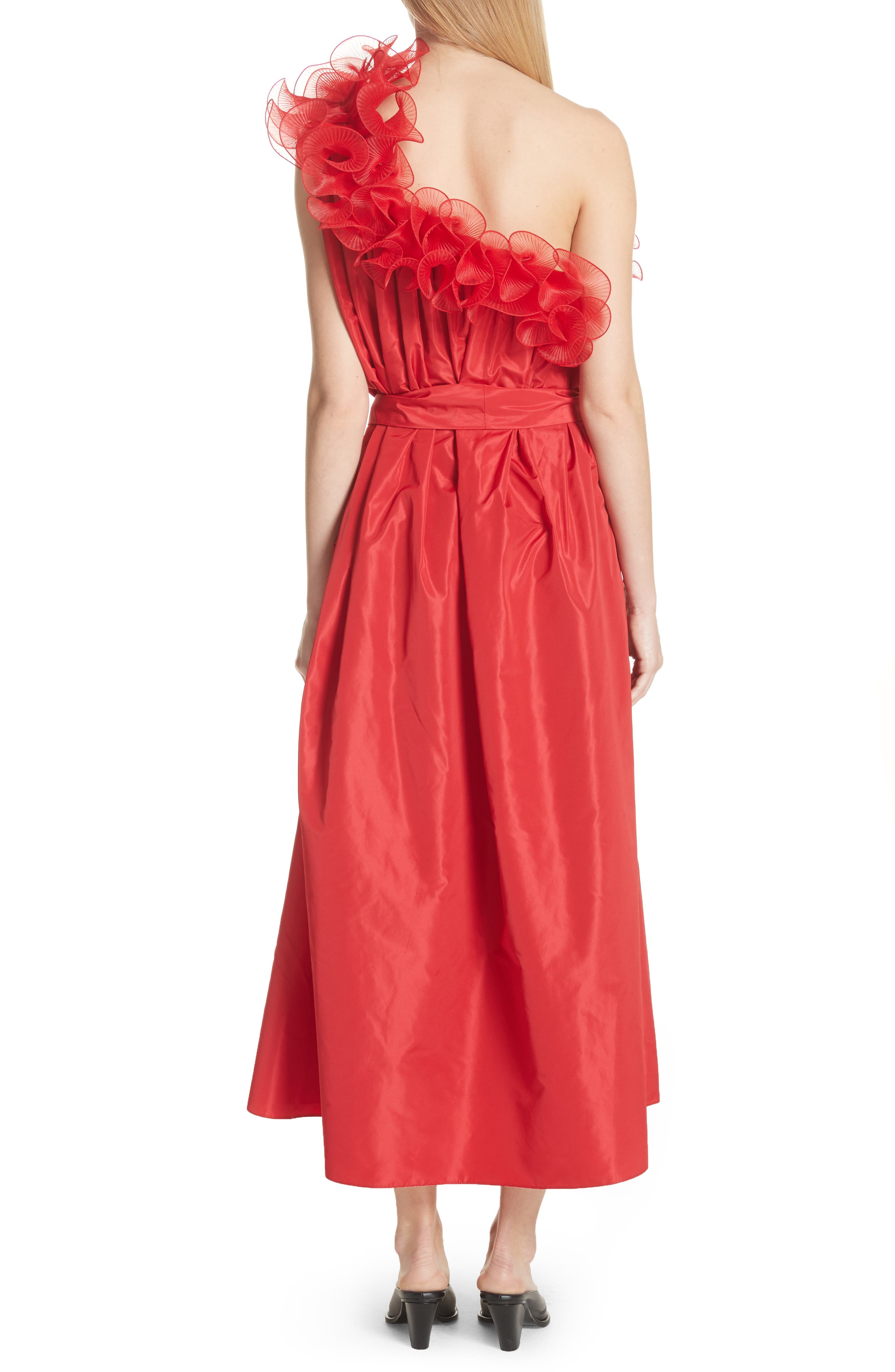 One-Shoulder Ruffle Taffeta Dress,                             Alternate thumbnail 2, color,                             Red
