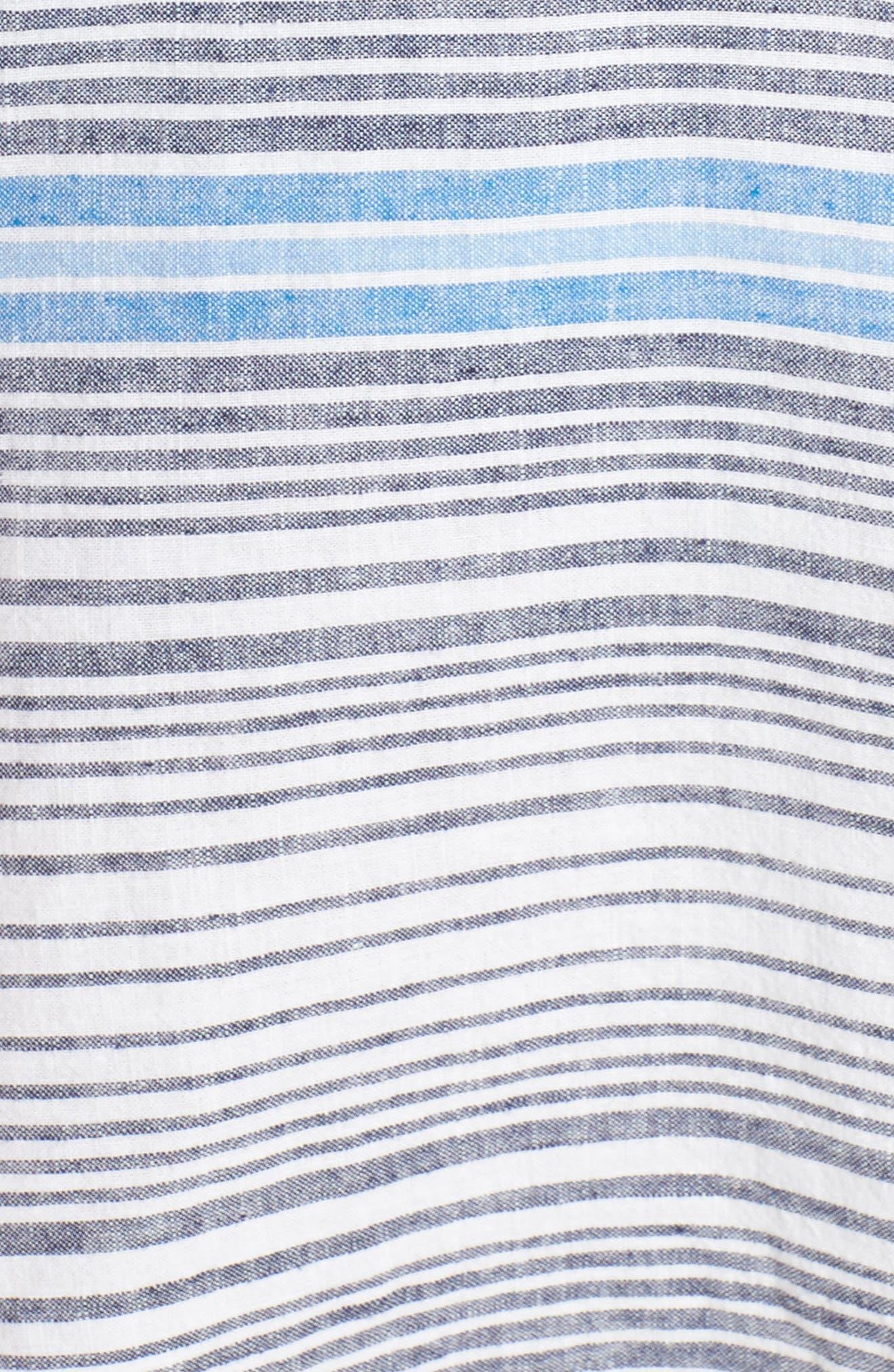 Stripe Linen & Cotton Cover-Up Tunic,                             Alternate thumbnail 5, color,                             White