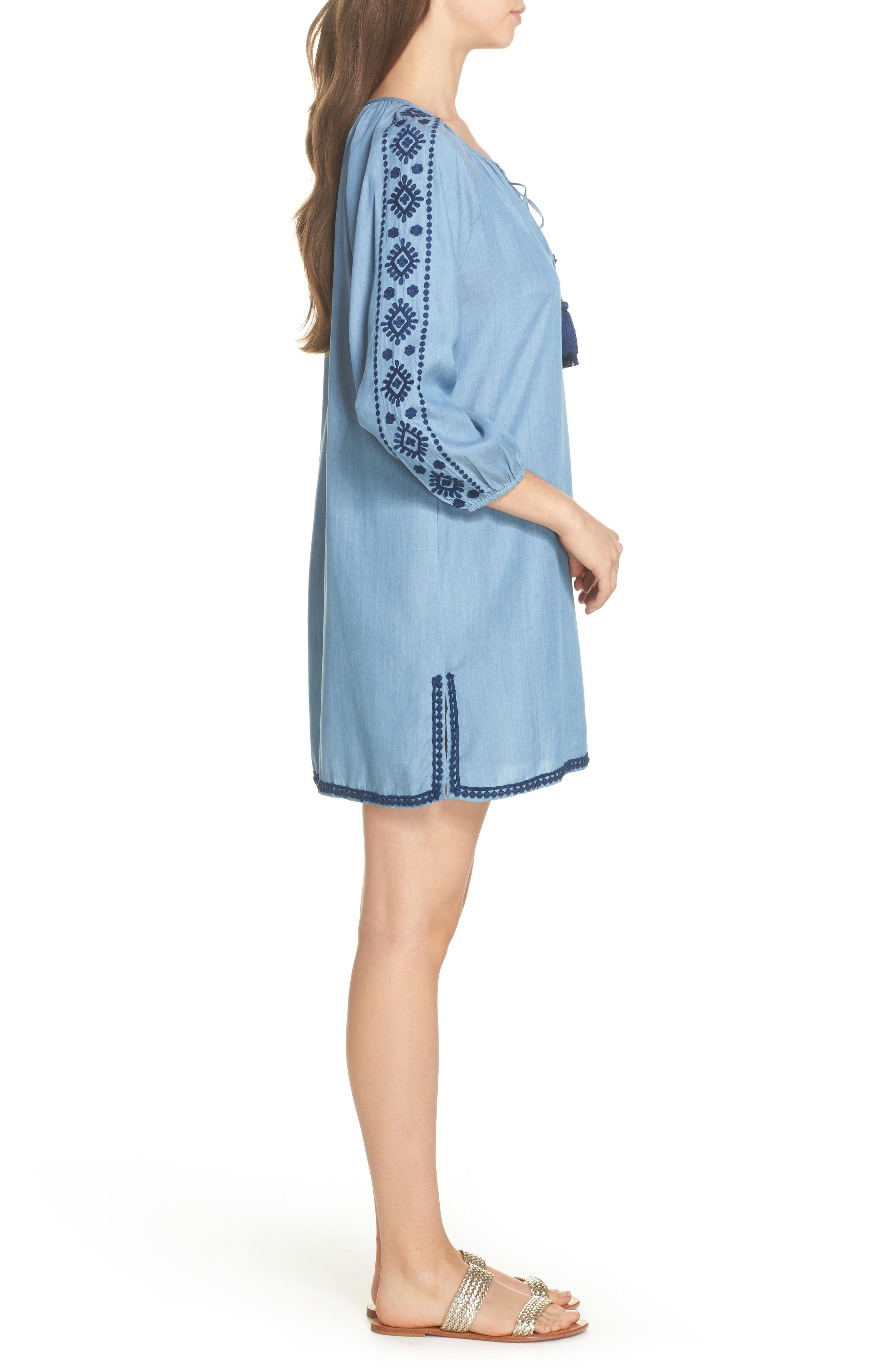 Embroidered Chambray Cover-Up Dress,                             Alternate thumbnail 3, color,                             Chambray