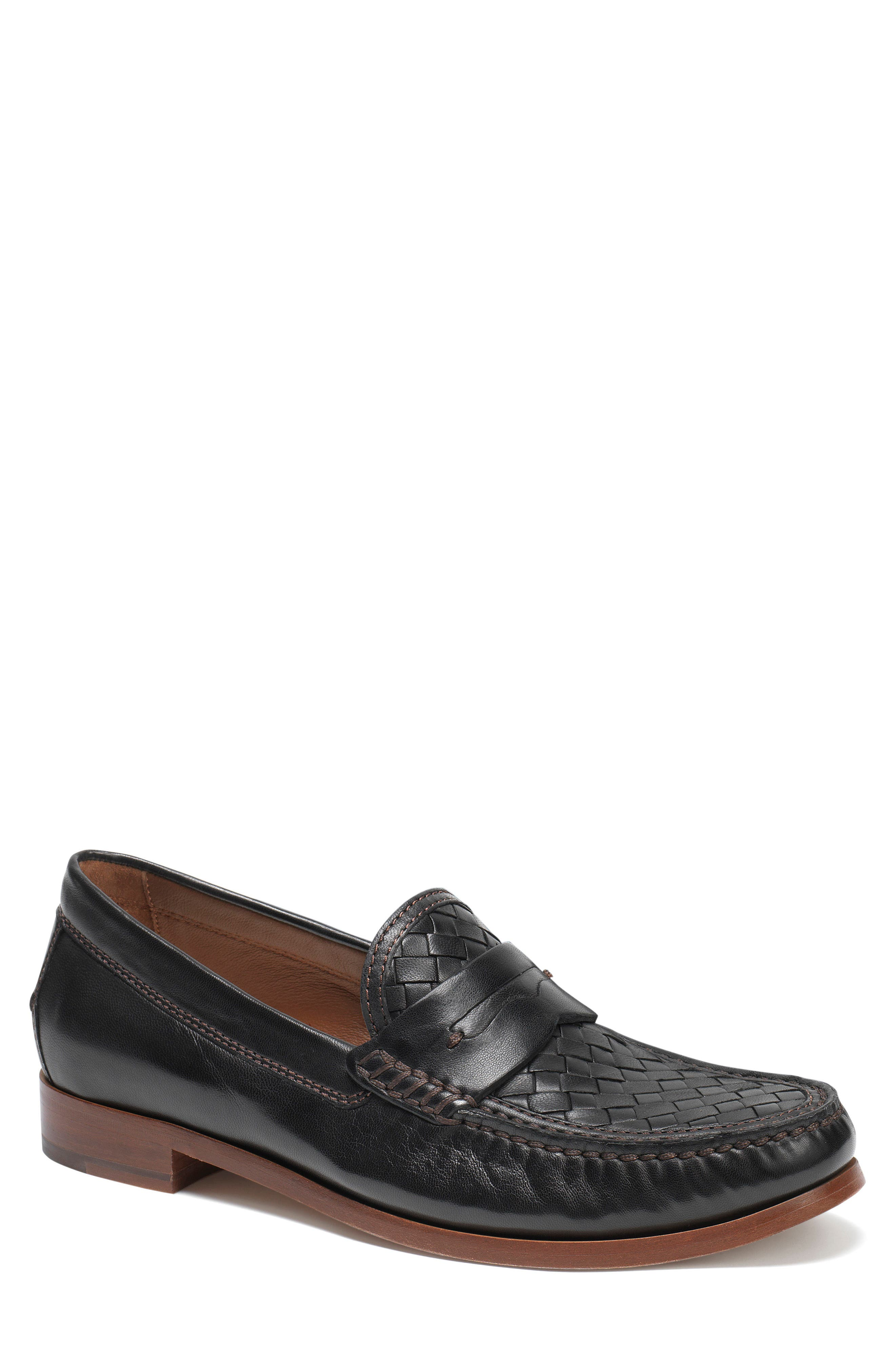 Slade Water Resistant Woven Penny Loafer,                             Main thumbnail 1, color,                             Black Leather